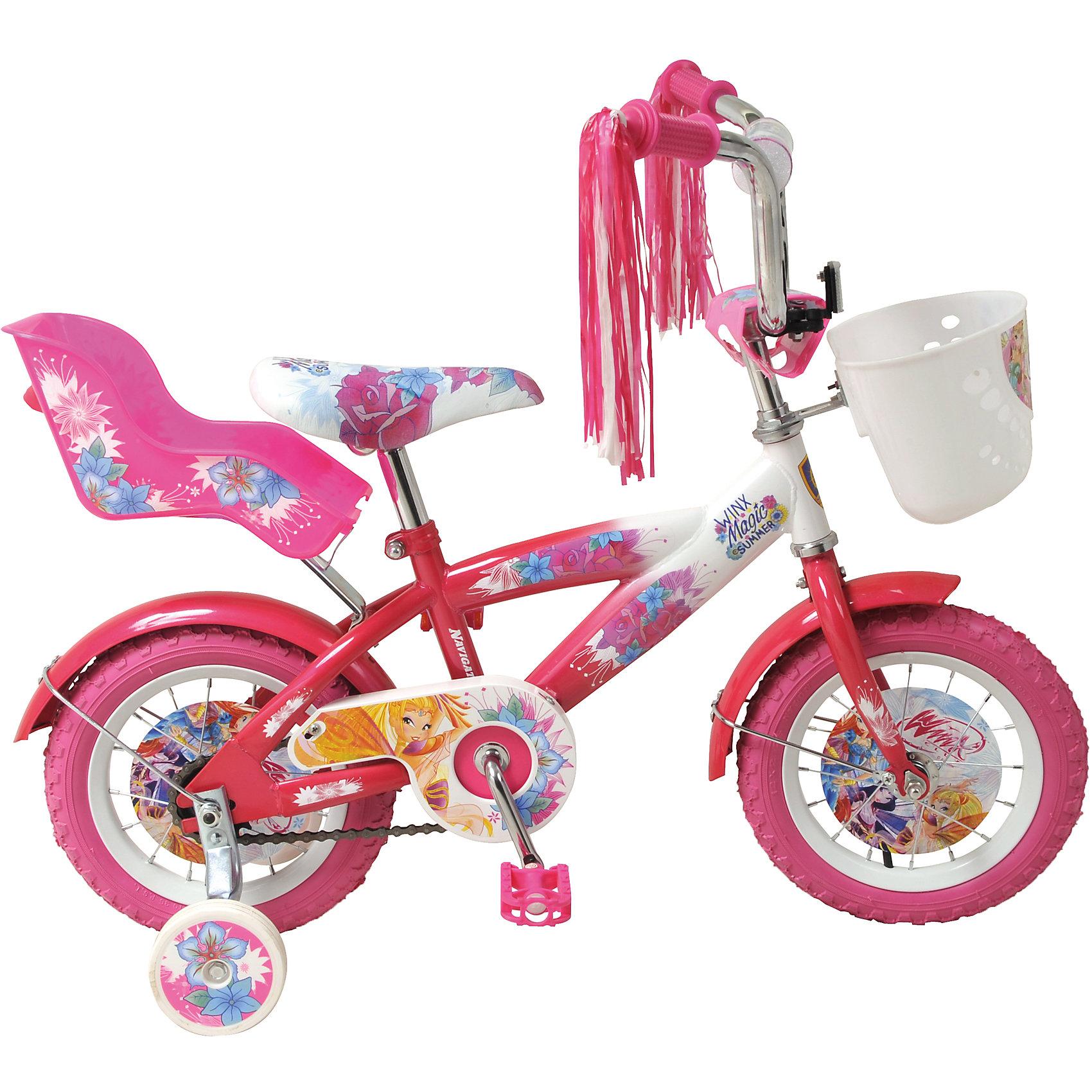 Велосипед Winx, NavigatorWinx Club<br>Велосипед Winx, Navigator (Навигатор) – это яркий, стильный, надежный велосипед высокого качества для маленьких принцесс.<br>Детский розовый велосипед Winx Т1-тип - мечта каждой юной феи. Красивое, яркое оформление, «дождик» на руле, корзина для различных принадлежностей, заднее пластиковое кресло для куклы, которое, при необходимости, быстро снимается, все это удовлетворит запросы даже самой взыскательной модницы. На этом велосипеде ваша красавица точно не останется не замеченной и получит максимум удовольствия от катания. Рама велосипеда выполнена из высокопрочного металла. Покрытие рамы устойчиво к царапинам. Высота руля и сиденья легко регулируется в соответствии с возрастом и ростом ребенка. Мягкая накладка на руле обеспечит небольшое смягчение при падении на руль. Колеса, прошедшие компьютерную балансировку, оснащены бутиловыми шинами, которые хорошо удерживают воздух. Велосипед имеет дополнительные страховочные колеса, защиту цепи, стальные обода для защиты от брызг, удобное сиденье эргономичной формы. Основные колеса декорированы яркими вставками в стиле Винкс. На ручках руля нескользящее покрытие. Катание на велосипеде поможет ребенку укрепить опорно-двигательную и сердечнососудистую системы.<br><br>Дополнительная информация:<br><br>- Возрастная категория: 2,5 - 4 лет<br>- Подходит для детей ростом 85 - 110 см.<br>- Диаметр колес: 12 дюймов<br>- Еврошатун<br>- Ножной тормоз<br>- Материал рамы: сталь<br>- Вес в упаковке: 9,11 кг.<br><br>Велосипед Winx, Navigator (Навигатор) можно купить в нашем интернет-магазине.<br><br>Ширина мм: 725<br>Глубина мм: 170<br>Высота мм: 335<br>Вес г: 9110<br>Возраст от месяцев: 48<br>Возраст до месяцев: 84<br>Пол: Женский<br>Возраст: Детский<br>SKU: 4655084
