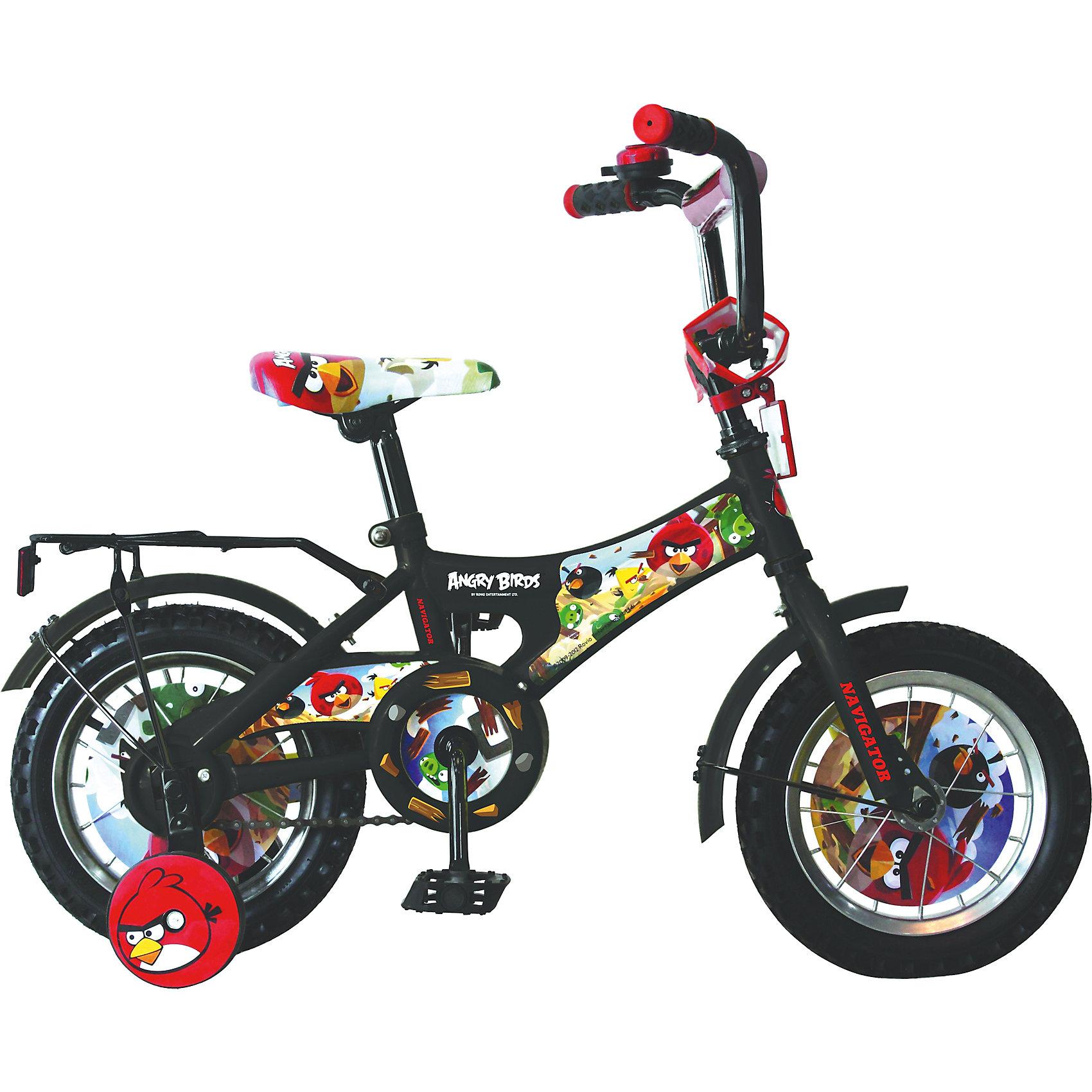 Велосипед Angry Birds, черный, NavigatorВелосипед Angry Birds, черный, Navigator (Навигатор) – это яркий, стильный, надежный велосипед высокого качества.<br>Велосипед Angry Birds АВ-1 тип - это мечта любого ребенка, ведь на нем нарисованы любимые герои из компьютерной игры. Он идеален для тех, кто только учится кататься и не умеет держать равновесие. Рама велосипеда выполнена из высокопрочного металла. Покрытие рамы устойчиво к царапинам. Руль достаточно подвижный и позволяет быстро сориентироваться с управлением. Мягкая накладка на руле обеспечит небольшое смягчение при падении на руль. На ручках руля нескользящее покрытие. Велосипед имеет дополнительные страховочные колеса, защиту цепи, стальные обода для защиты от брызг, удобное сиденье эргономичной формы, звонок, задний багажник. Основные колеса декорированы яркими вставками. Сиденье и руль регулируются по высоте. Катание на велосипеде поможет ребенку укрепить опорно-двигательную и сердечнососудистую системы.<br><br>Дополнительная информация:<br><br>- Возрастная категория: от 3 лет<br>- Подходит для детей ростом 85 - 110 см.<br>- Максимально допустимая нагрузка: 25 кг.<br>- Диаметр колес: 12 дюймов<br>- Односоставной шатун<br>- Тормоз: ножной<br>- Конструкция вилки: жесткая<br>- Материал рамы: сталь<br>- Цвет: черный<br>- Вес в упаковке: 9,5 кг.<br><br>Велосипед Angry Birds, черный, Navigator (Навигатор) можно купить в нашем интернет-магазине.<br><br>Ширина мм: 170<br>Глубина мм: 705<br>Высота мм: 330<br>Вес г: 9500<br>Возраст от месяцев: 300<br>Возраст до месяцев: 84<br>Пол: Унисекс<br>Возраст: Детский<br>SKU: 4655092