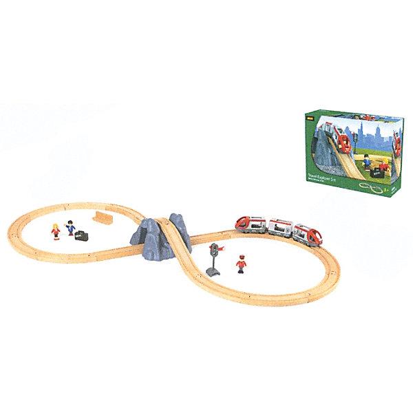 Железная дорога с поездом, BrioЖелезные дороги<br>Железная дорога с поездом, Brio (Брио) – этот увлекательный игровой набор обязательно заинтересует вашего ребенка и не позволит ему скучать.<br>Железная дорога с поездом от Brio (Брио) превратит простую игру в захватывающее путешествие с подъемом на гору и проходом поезда через тоннель. В состав набора деревянной железной дороги входит железнодорожное полотно в виде восьмерки, в центре которой располагается гора с туннелем; пассажирский железнодорожный состав из трёх вагонов с открывающимися верхними дверцами, которые соединяются между собой при помощи магнитов; 3 фигурки пассажиров, скамейка, семафор и чемоданчик. Поезд двигается рельсам за счет механического воздействия. Фигурки можно сажать в вагоны состава. Для регулировки движения в набор входит механический семафор. Железная дорога очень надежна и проста в сборке, кроме того набор изготовлен из лучших, экологически чистых материалов, и абсолютно безопасен для детей. Игра с железной дорогой развивает моторику, логическое мышление, фантазию.<br><br>Дополнительная информация:<br><br>- В комплекте 26 элементов: секции железной дороги - 16 шт, пассажирские вагоны - 3 шт, гора с туннелем, механический семафор, фигурки пассажиров - 3 шт, чемоданчик для пассажира, скамейка<br>- Рекомендована для детей от 3 лет<br>- Материал: древесина с элементами пластика, окрашенная нетоксичными красками<br>- Размер площадки: 45 x 100 см.<br>- Длина железнодорожного полотна: 278,5 см.<br>- Размер упаковки: 39 х 12 х 31 см.<br>- Вес: 1903 гр.<br><br>Железную дорогу с поездом, Brio (Брио) можно купить в нашем интернет-магазине.<br><br>Ширина мм: 390<br>Глубина мм: 120<br>Высота мм: 310<br>Вес г: 1903<br>Возраст от месяцев: 36<br>Возраст до месяцев: 84<br>Пол: Унисекс<br>Возраст: Детский<br>SKU: 4655097