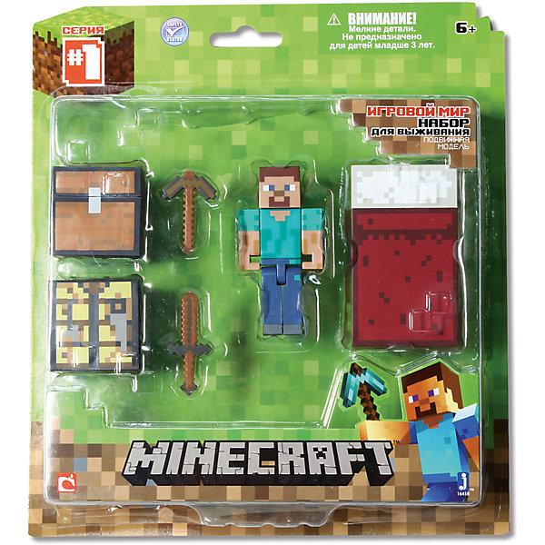 Игровой набор Набор для выживания, MinecraftКоллекционные и игровые фигурки<br>Игровой набор Набор для выживания, Minecraft – это прекрасный подарок для поклонника популярной игры Minecraft.<br>Игровой набор Набор для выживания приведет в восторг поклонников компьютерной игры Minecraft. Теперь ваш ребенок сможет отвлечься от компьютера или планшета, не отрываясь от любимой забавы! Выполненный из высококачественного пластика, комплект включает фигурку главного героя, Стива, с подвижными частями тела, а также элементы фантастического мира – куб-рабочее место, кирку, меч, кровать и сундук. Стив может держать в руках различные предметы. Фигурка прекрасно детализирована, реалистично раскрашена, очень похожа на персонажа компьютерной игры. С набором для выживания Ваш ребенок поможет главному герою пережить все трудности.<br><br>Дополнительная информация:<br><br>- В наборе: подвижная фигурка. Стива, куб-рабочее место, кирка, меч, кровать, сундук<br>- Высота фигурки Стива: 7 см.<br>- Материал: пластик<br>- Упаковка: блистер<br>- Размер упаковки: 16х20 см.<br><br>Игровой набор Набор для выживания, Minecraft можно купить в нашем интернет-магазине.<br><br>Ширина мм: 235<br>Глубина мм: 210<br>Высота мм: 55<br>Вес г: 167<br>Возраст от месяцев: 72<br>Возраст до месяцев: 144<br>Пол: Унисекс<br>Возраст: Детский<br>SKU: 4655099