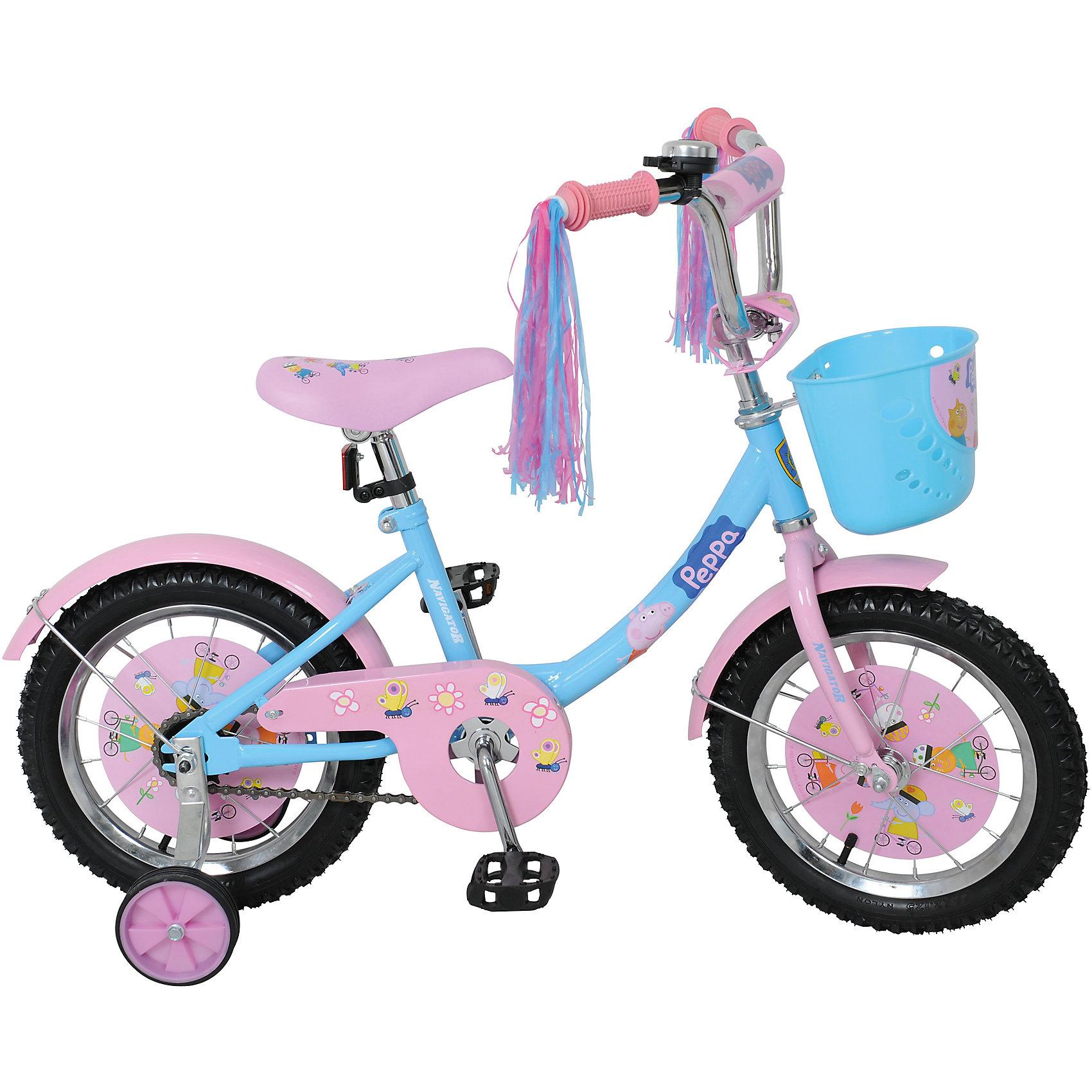 Велосипед Свинка Пеппа, NavigatorВелосипеды детские<br>Велосипед Свинка Пеппа, Navigator (Навигатор) – это яркий, стильный, надежный велосипед высокого качества для маленьких принцесс.<br>Детский велосипед Свинка Пеппа 12В-тип- мечта любой девочки. Красивое, яркое оформление, «дождик» на руле, пластиковая корзина для различных принадлежностей, все это удовлетворит запросы даже самой взыскательной модницы. На этом велосипеде ваша красавица точно не останется не замеченной и получит максимум удовольствия от катания. Рама велосипеда выполнена из высокопрочного металла. Покрытие рамы устойчиво к царапинам. Высота руля и сиденья легко регулируется в соответствии с возрастом и ростом ребенка. Мягкая накладка на руле обеспечит небольшое смягчение при падении на руль. Колеса оснащены резиновыми шинами. Велосипед имеет дополнительные страховочные колеса, защиту цепи, стальные обода для защиты от брызг, удобное сиденье эргономичной формы, звонок, светоотражатели для безопасной езды в темное время суток. Основные колеса декорированы яркими вставками в стиле Свинка Пеппа. На ручках руля нескользящее покрытие. Катание на велосипеде поможет ребенку укрепить опорно-двигательную и сердечнососудистую системы.<br><br>Дополнительная информация:<br><br>- Возрастная категория: от 4 до 6 лет<br>- Подходит для детей ростом 95-115 см.<br>- Диаметр колес: 14 дюймов<br>- Односоставной шатун<br>- Ножной тормоз<br>- Материал рамы: сталь<br>- Вес в упаковке: 9,4 кг.<br><br>Велосипед Свинка Пеппа, Navigator (Навигатор) можно купить в нашем интернет-магазине.<br><br>Ширина мм: 800<br>Глубина мм: 170<br>Высота мм: 360<br>Вес г: 9400<br>Возраст от месяцев: 48<br>Возраст до месяцев: 120<br>Пол: Женский<br>Возраст: Детский<br>SKU: 4655106