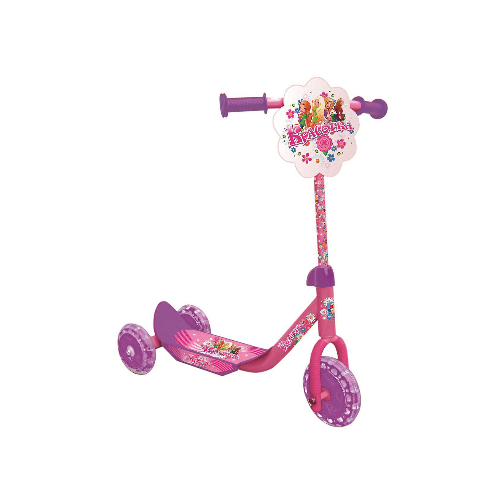 Самокат трехколесный Красотка, 1ToyСамокаты<br>Самокат трехколесный Красотка, 1Toy – прочный, комфортный и легкий в транспортировке самокат, который понравится вашему ребенку.<br>Трёхколёсный самокат Красотка 1Toy - это очень милый, сделанный с любовью к детям, самокат, украшенный изображениями весёлых подружек, предназначен для самых маленьких райдеров. У самоката стальная рама, колёса из ПВХ-материала, Т-образная ручка. Удобная противоскользящая платформа позволяет ребёнку надёжно стоять во время движения. Впереди на рулевой стойке имеется декоративная панель. Модель изготовлена из качественных материалов и безопасна для ребенка.<br><br>Дополнительная информация:<br><br>- Возраст: от 3 лет <br>- Материал: металл, пластик, ПВХ<br>- Цвет: белый, розовый, фиолетовый<br>- Максимальная нагрузка: 20 кг.<br>- Тормоз: ножной<br>- Размер: 60х10,5х68 см.<br>- Диаметр переднего колеса: 15,24 см.<br>- Диаметр задних колёс: 12,7 см.<br>- Вес: 2,35 кг.<br>- Размеры упаковки: 51х14х34 см.<br><br>Самокат трехколесный Красотка, 1Toy можно купить в нашем интернет-магазине.<br><br>Ширина мм: 510<br>Глубина мм: 140<br>Высота мм: 340<br>Вес г: 3083<br>Возраст от месяцев: 36<br>Возраст до месяцев: 84<br>Пол: Женский<br>Возраст: Детский<br>SKU: 4655109