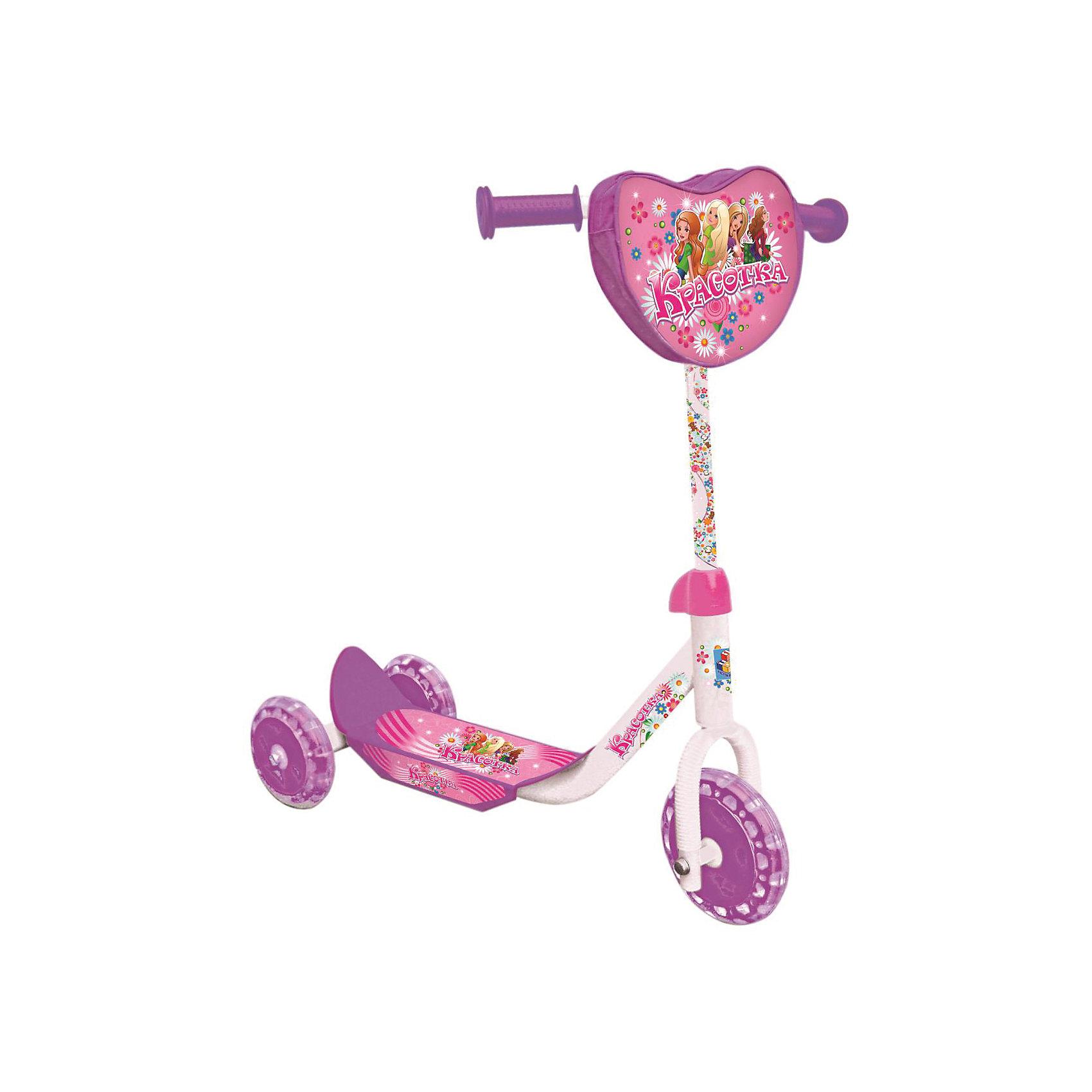 Самокат трехколесный Красотка, 1ToyСамокат трехколесный Красотка, 1Toy – прочный, комфортный и легкий в транспортировке самокат, который понравится вашему ребенку.<br>Трёхколёсный самокат Красотка 1Toy - это очень милый, сделанный с любовью к детям, самокат, украшенный изображениями весёлых подружек, предназначен для самых маленьких райдеров. У самоката стальная рама, колёса из ПВХ-материала, Т-образная ручка. Удобная противоскользящая платформа позволяет ребёнку надёжно стоять во время движения. Впереди на рулевой стойке имеется сумочка. Модель изготовлена из качественных материалов.<br><br>Дополнительная информация:<br><br>- Возраст: от 3 лет <br>- Материал: металл, пластик, ПВХ<br>- Цвет: белый, розовый, фиолетовый<br>- Максимальная нагрузка: 20 кг.<br>- Тормоз: ножной<br>- Размер: 60х10,5х68 см.<br>- Диаметр переднего колеса: 15,24 см.<br>- Диаметр задних колёс: 12,7 см.<br>- Вес: 2,7 кг.<br>- Размеры упаковки: 48х13х35 см.<br><br>Самокат трехколесный Красотка, 1Toy можно купить в нашем интернет-магазине.<br><br>Ширина мм: 480<br>Глубина мм: 130<br>Высота мм: 350<br>Вес г: 3083<br>Возраст от месяцев: 36<br>Возраст до месяцев: 84<br>Пол: Женский<br>Возраст: Детский<br>SKU: 4655110