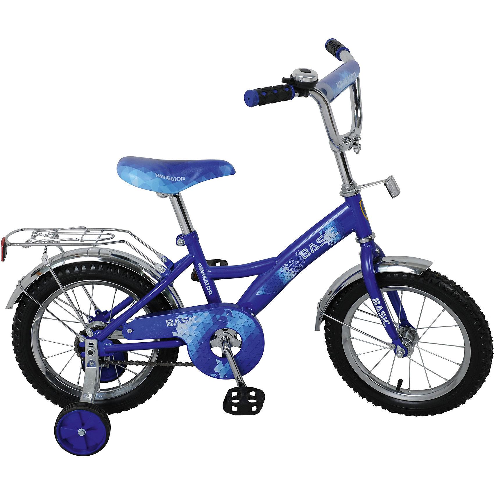 Велосипед Basic, синий, NavigatorВелосипеды детские<br>Велосипед Basic, синий, Navigator (Навигатор) – это яркий, стильный, надежный велосипед высокого качества.<br>Детский велосипед Basic KITE-тип, обладает яркой расцветкой и стильными формами. продуманная конструкция сводит к минимуму риск получить травму. Рама велосипеда выполнена из высокопрочного металла. Покрытие рамы устойчиво к царапинам. Высота руля и сиденья легко регулируется в соответствии с возрастом и ростом ребенка. Мягкая накладка на руле обеспечит небольшое смягчение при падении на руль. Колеса оснащены резиновыми шинами, которые хорошо удерживают воздух. Велосипед имеет дополнительные широкие страховочные колеса, защиту цепи, стальные обода для защиты от брызг, удобное сиденье эргономичной формы, звонок, задний багажник. На ручках руля нескользящие накладки. Катание на велосипеде поможет ребенку укрепить опорно-двигательную и сердечнососудистую системы.<br><br>Дополнительная информация:<br><br>- Возрастная категория: 4 -6 лет<br>- Подходит для детей ростом 95 - 115 см.<br>- Диаметр колёс: 14 дюймов<br>- Односоставной шатун<br>- Ножной тормоз<br>- Материал рамы: сталь<br>- Вес в упаковке: 9,9 кг.<br><br>Велосипед Basic, синий, Navigator (Навигатор) можно купить в нашем интернет-магазине.<br><br>Ширина мм: 800<br>Глубина мм: 170<br>Высота мм: 360<br>Вес г: 9900<br>Возраст от месяцев: 48<br>Возраст до месяцев: 120<br>Пол: Унисекс<br>Возраст: Детский<br>SKU: 4655117
