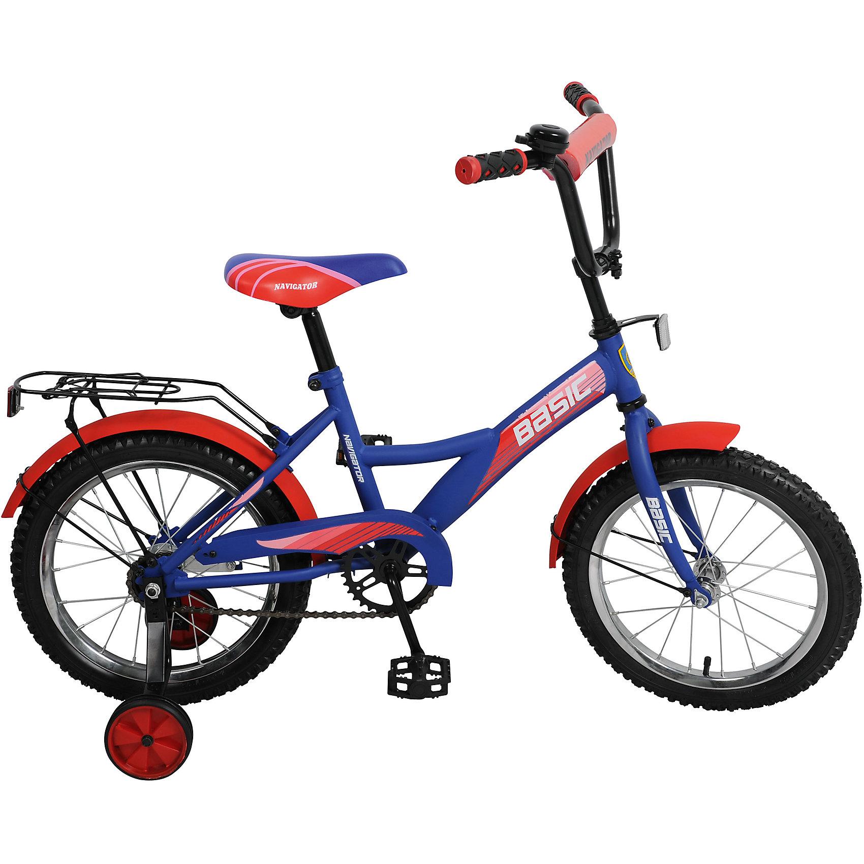 Велосипед Basic, сине-красный, NavigatorВелосипеды детские<br>Велосипед Basic, сине-красный, Navigator (Навигатор) – это яркий, стильный, надежный велосипед высокого качества.<br>Детский велосипед Basic KITE-тип, обладает яркой расцветкой и стильными формами. продуманная конструкция сводит к минимуму риск получить травму. Рама велосипеда выполнена из высокопрочного металла. Покрытие рамы устойчиво к царапинам. Высота руля и сиденья легко регулируется в соответствии с возрастом и ростом ребенка. Мягкая накладка на руле обеспечит небольшое смягчение при падении на руль. Колеса оснащены резиновыми шинами, которые хорошо удерживают воздух. Велосипед имеет дополнительные широкие страховочные колеса, защиту цепи, стальные обода для защиты от брызг, удобное сиденье эргономичной формы, звонок, задний багажник. На ручках руля нескользящие накладки. Катание на велосипеде поможет ребенку укрепить опорно-двигательную и сердечнососудистую системы.<br><br>Дополнительная информация:<br><br>- Возрастная категория: от 5 до 7 лет<br>- Подходит для детей ростом 100 - 125 см.<br>- Диаметр колёс: 16 дюймов<br>- Односоставной шатун<br>- Ножной тормоз<br>- Материал рамы: сталь<br>- Цвет: синий, красный<br>- Вес в упаковке: 10,9 кг.<br><br>Велосипед Basic, сине-красный, Navigator (Навигатор) можно купить в нашем интернет-магазине.<br><br>Ширина мм: 890<br>Глубина мм: 170<br>Высота мм: 420<br>Вес г: 10900<br>Возраст от месяцев: 60<br>Возраст до месяцев: 120<br>Пол: Унисекс<br>Возраст: Детский<br>SKU: 4655119