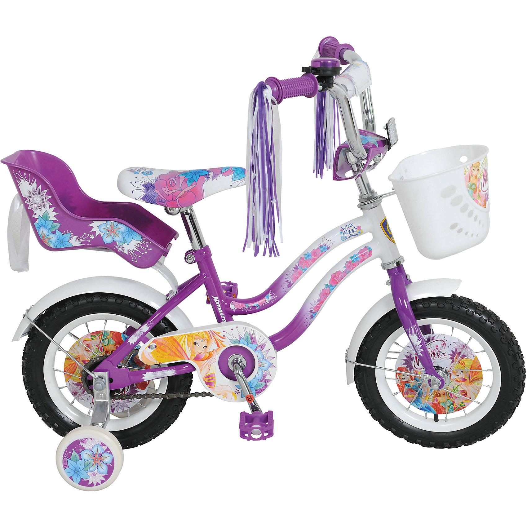 Велосипед, Winx, фиолетово-белый, NavigatorПопулярные игрушки<br>Велосипед Winx, Navigator (Навигатор) – это яркий, стильный, надежный велосипед высокого качества для маленьких принцесс.<br>Детский велосипед Winx T2-тип - мечта каждой юной феи. Красивое, яркое оформление, «дождик» на руле, пластиковая корзина для различных принадлежностей, заднее пластиковое кресло для куклы, которое, при необходимости, быстро снимается, все это удовлетворит запросы даже самой взыскательной модницы. На этом велосипеде ваша красавица точно не останется не замеченной и получит максимум удовольствия от катания. Рама велосипеда выполнена из высокопрочного металла. Покрытие рамы устойчиво к царапинам. Высота руля и сиденья легко регулируется в соответствии с возрастом и ростом ребенка. Мягкая накладка на руле обеспечит небольшое смягчение при падении на руль. Колеса оснащены резиновыми шинами, которые хорошо удерживают воздух. Велосипед имеет дополнительные страховочные колеса, защиту цепи, стальные обода для защиты от брызг, удобное сиденье эргономичной формы, светоотражающие элементы для безопасной езды в темное время суток. Основные колеса декорированы яркими вставками в стиле Винкс. На ручках руля нескользящие накладки с ограничителями. Катание на велосипеде поможет ребенку укрепить опорно-двигательную и сердечнососудистую системы.<br><br>Дополнительная информация:<br><br>- Возрастная категория: 2,5 - 4 лет<br>- Подходит для детей ростом 85 - 110 см.<br>- Максимальная нагрузка 25 кг.<br>- Размер: 92х50х66 см.<br>- Диаметр колёс: 12 дюймов<br>- Диаметр дополнительных колёс: 10,5 см.<br>- Ширина дополнительных колёс: 2,5 см.<br>- Высота руля: от 60,5 до 66 см.<br>- Ширина руля: 50 см.<br>- Высота сиденья: от 44 до 49,5 см.<br>- Размер сиденья: 23х14 см.<br>- Размер педалей: 8 х6х2 см.<br>- Нижняя высота педали от земли: 9,5 см.<br>- Верхняя высота педали от земли: 27,5 см.<br>- Односоставной шатун<br>- Ножной тормоз<br>- Материал рамы: сталь<br>- Вес в упаковке: 8,9 кг.<br><br>Велосипе