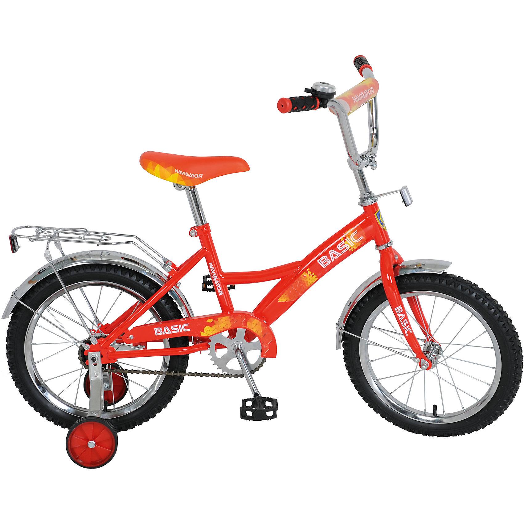 Велосипед Basic, красно-желтый, NavigatorВелосипеды детские<br>Велосипед Basic, красно-желтый, Navigator (Навигатор) – это яркий, стильный, надежный велосипед высокого качества.<br>Детский велосипед Basic KITE-тип, обладает яркой расцветкой и стильными формами. продуманная конструкция сводит к минимуму риск получить травму. Рама велосипеда выполнена из высокопрочного металла. Покрытие рамы устойчиво к царапинам. Высота руля и сиденья легко регулируется в соответствии с возрастом и ростом ребенка. Мягкая накладка на руле обеспечит небольшое смягчение при падении на руль. Колеса оснащены резиновыми шинами, которые хорошо удерживают воздух. Велосипед имеет дополнительные широкие страховочные колеса, защиту цепи, стальные обода для защиты от брызг, удобное сиденье эргономичной формы, звонок, задний багажник. На ручках руля нескользящие накладки. Катание на велосипеде поможет ребенку укрепить опорно-двигательную и сердечнососудистую системы.<br><br>Дополнительная информация:<br><br>- Возрастная категория: от 5 до 7 лет<br>- Подходит для детей ростом 100 - 125 см.<br>- Диаметр колёс: 16 дюймов<br>- Односоставной шатун<br>- Ножной тормоз<br>- Материал рамы: сталь<br>- Цвет: красный, желтый<br>- Вес в упаковке: 10,9 кг.<br><br>Велосипед Basic, красно-желтый, Navigator (Навигатор) можно купить в нашем интернет-магазине.<br><br>Ширина мм: 890<br>Глубина мм: 170<br>Высота мм: 420<br>Вес г: 10900<br>Возраст от месяцев: 60<br>Возраст до месяцев: 120<br>Пол: Унисекс<br>Возраст: Детский<br>SKU: 4655121