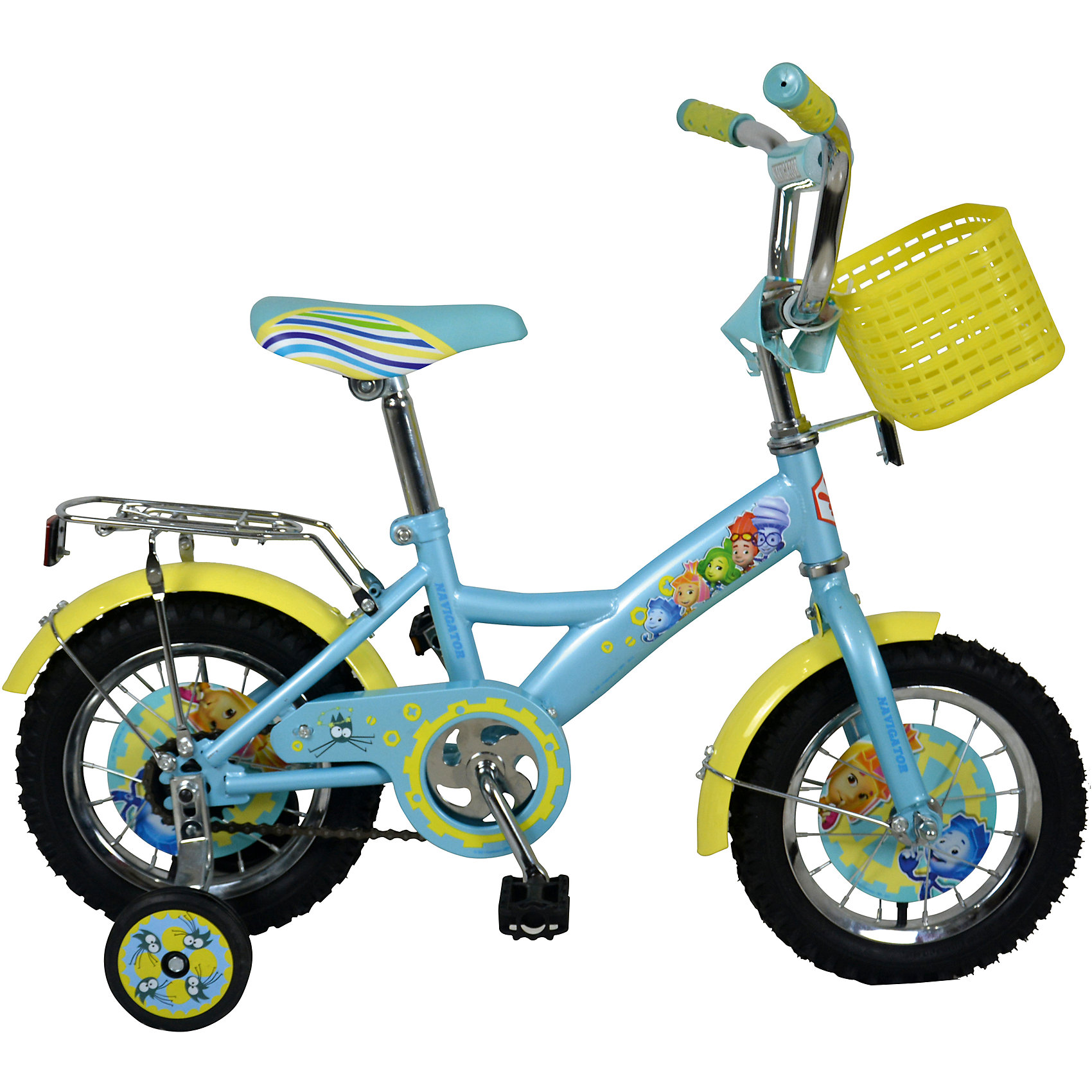 Велосипед Фиксики, NavigatorВелосипед Фиксики, Navigator (Навигатор) – это яркий, стильный, надежный велосипед высокого качества.<br>Детский велосипед Фиксики KITE-тип - это мечта любого ребенка, ведь на нем нарисованы любимые герои мультфильма «Фиксики». Он идеален для тех, кто только учится кататься и не умеет держать равновесие. Жесткая рама велосипеда выполнена из высокопрочного металла. Покрытие рамы устойчиво к царапинам. Высота руля и сиденья легко регулируется в соответствии с возрастом и ростом ребенка. Мягкая накладка на руле обеспечит небольшое смягчение при падении на руль. Колеса оснащены резиновыми шинами, которые хорошо удерживают воздух. Велосипед имеет дополнительные страховочные колеса, защиту цепи, стальные обода для защиты от брызг, удобное сиденье эргономичной формы, пластиковую корзинку на руле, пищалку, задний багажник. Основные колеса декорированы яркими вставками в стиле Фиксики. На ручках руля нескользящие накладки. Катание на велосипеде поможет ребенку укрепить опорно-двигательную и сердечнососудистую системы.<br><br>Дополнительная информация:<br><br>- Возрастная категория: 4 -6 лет<br>- Подходит для детей ростом 95 - 115 см.<br>- Диаметр колёс: 14 дюймов<br>- Односоставной шатун<br>- Ножной тормоз<br>- Материал рамы: сталь<br>- Вес в упаковке: 9,8 кг.<br><br>Велосипед Фиксики, Navigator (Навигатор) можно купить в нашем интернет-магазине.<br><br>Ширина мм: 805<br>Глубина мм: 170<br>Высота мм: 365<br>Вес г: 9800<br>Возраст от месяцев: 48<br>Возраст до месяцев: 120<br>Пол: Унисекс<br>Возраст: Детский<br>SKU: 4655122