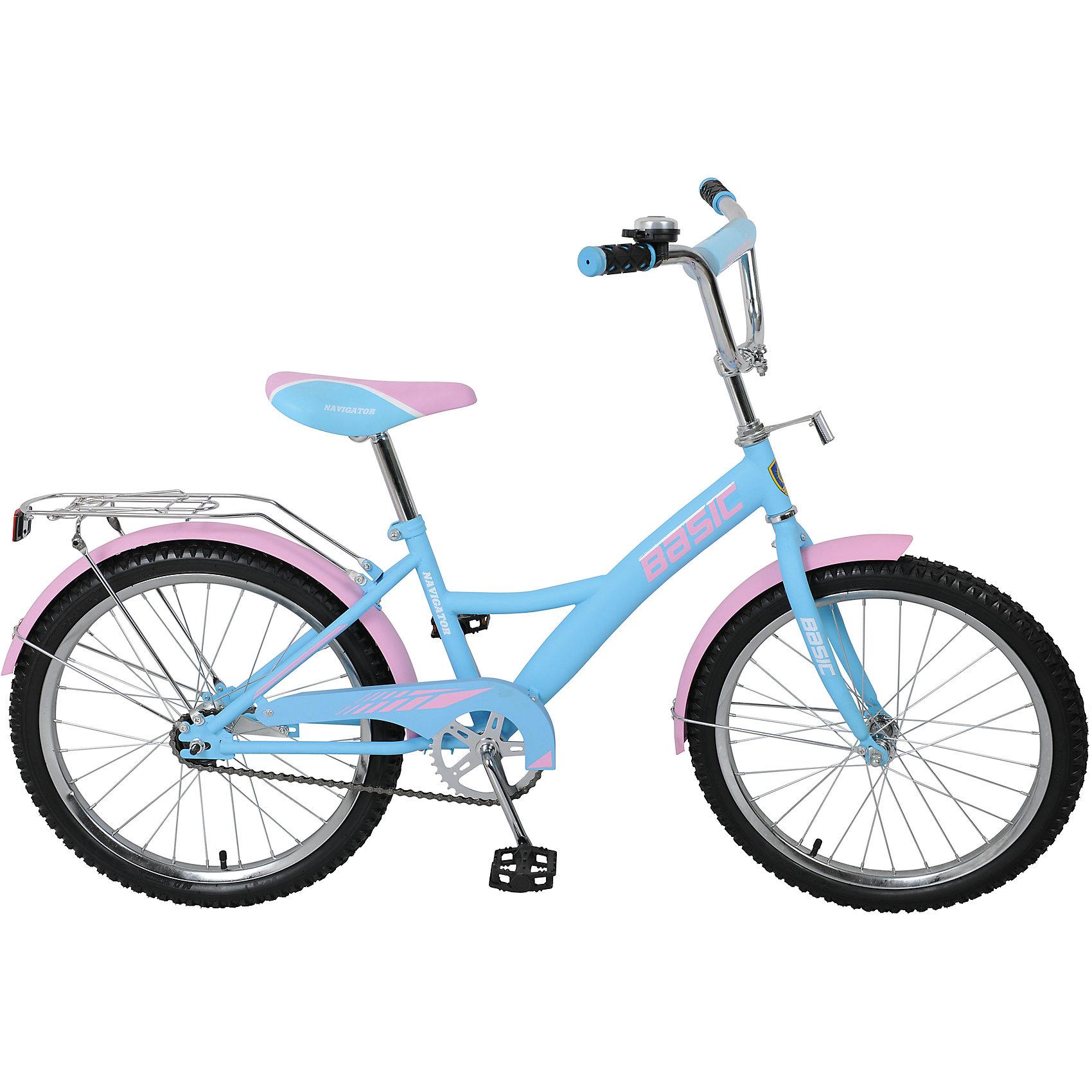 Велосипед Basic, голубо-розовый, NavigatorВелосипеды детские<br>Велосипед Basic, голубо-розовый, Navigator (Навигатор) – это яркий, стильный, надежный велосипед высокого качества.<br>Детский велосипед Basic KITE-тип, обладает яркой расцветкой и стильными формами. продуманная конструкция сводит к минимуму риск получить травму. Жесткая рама велосипеда выполнена из высокопрочного металла. Покрытие рамы устойчиво к царапинам. Высота руля и сиденья легко регулируется в соответствии с возрастом и ростом ребенка. Мягкая накладка на руле обеспечит небольшое смягчение при падении на руль. Колеса оснащены резиновыми шинами, которые хорошо удерживают воздух. Велосипед имеет дополнительные широкие страховочные колеса, защиту цепи, стальные обода для защиты от брызг, удобное сиденье эргономичной формы, звонок, задний багажник. На ручках руля нескользящие накладки. Катание на велосипеде поможет ребенку укрепить опорно-двигательную и сердечнососудистую системы.<br><br>Дополнительная информация:<br><br>- Возрастная категория: от 7 до 10 лет<br>- Подходит для детей ростом 120-145 см.<br>- Диаметр колёс: 20 дюймов<br>- Односоставной шатун<br>- Ножной тормоз<br>- Материал рамы: сталь<br>- Цвет: голубой, розовый<br>- Вес в упаковке: 11,8 кг.<br><br>Велосипед Basic, голубо-розовый, Navigator (Навигатор) можно купить в нашем интернет-магазине.<br><br>Ширина мм: 1040<br>Глубина мм: 165<br>Высота мм: 510<br>Вес г: 11800<br>Возраст от месяцев: 84<br>Возраст до месяцев: 144<br>Пол: Унисекс<br>Возраст: Детский<br>SKU: 4655123