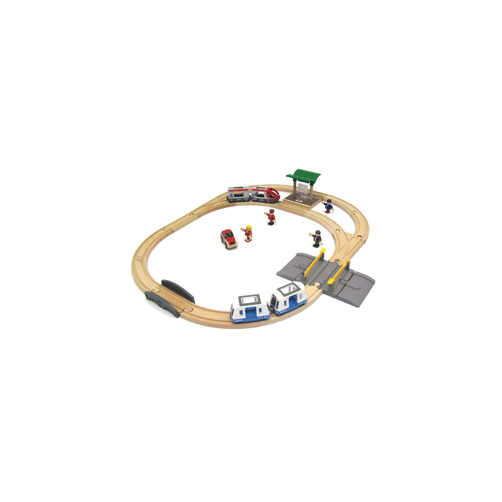 Набор Городской транспорт, BrioНабор Городской транспорт, Brio (Брио) – увлекательный игровой набор обязательно заинтересует вашего ребенка и не позволит ему скучать.<br>Набор Городской транспорт от Brio (Брио) превратит простую игру в захватывающее путешествие по городу. В состав набора входит железнодорожное полотно с ответвлением, пассажирский состав из двух вагонов и составной трамвай из двух вагонов. В пассажирский поезд и в трамвай можно сажать пассажиров. У фигурок пассажиров сгибаются ручки и ножки. Для ожидания посадки в железнодорожный транспорт, фигурки могут находиться на железнодорожной платформе. Через железнодорожный переезд может переезжать машинка, входящая в набор. Железнодорожная дорога очень надежна и проста в сборке, кроме того набор изготовлен из лучших, экологически чистых материалов, и абсолютно безопасен для детей. Игра с набором развивает моторику, логическое мышление, фантазию.<br><br>Дополнительная информация:<br><br>- В комплекте 28 элементов: 16 элементов железнодорожных путей, пассажирский поезд с вагоном, трамвай, состоящий из двух вагонов, станция, автопереезд со шлагбаумами, мост, автомобиль, 4 фигурки пассажиров<br>- Материал: древесина, окрашенная нетоксичными красками, пластик<br>- Размер железнодорожного полотна: 66х70,5 см.<br>- Размер упаковки: 37 х 27 х 12,5 см.<br>- Вес: 1858 гр.<br><br>Набор Городской транспорт, Brio (Брио) можно купить в нашем интернет-магазине.<br><br>Ширина мм: 370<br>Глубина мм: 270<br>Высота мм: 125<br>Вес г: 1858<br>Возраст от месяцев: 36<br>Возраст до месяцев: 96<br>Пол: Унисекс<br>Возраст: Детский<br>SKU: 4655124