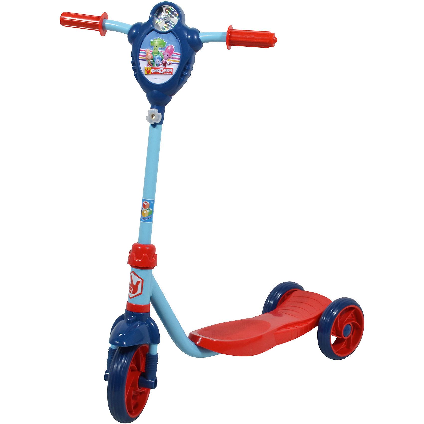 Самокат Фиксики, 1ToyСамокаты<br>Самокат Фиксики, 1Toy – это прочный, стильный, комфортный и легкий в транспортировке самокат, который понравится вашему ребенку.<br>Самокат трёхколёсный Фиксики 1Toy - это очень милый, сделанный с любовью к детям, самокат, украшенный крашенный персонажами популярного детского мультсериала Фиксики, предназначен для самых маленьких райдеров. У самоката металлическая рама, колёса из ПВХ-материала, Т-образная ручка. Удобная противоскользящая платформа позволяет ребёнку надёжно стоять во время движения.  Впереди на рулевой стойке имеется оригинальный ветрячок с рельефным изображением Папуса, Маси, Симки и Нолика. Модель изготовлена из качественных материалов и безопасна для ребенка.<br><br>Дополнительная информация:<br><br>- Возраст: от 3 лет<br>- Материал: металл, пластик, ПВХ<br>- Цвет: красный, синий, голубой<br>- Максимальная нагрузка: 40 кг.<br>- Тормоз: ножной<br>- Материал: металл, пластик, ПВХ<br>- Размер: 61х13х75 см.<br>- Диаметр переднего колеса: 15,24 см.<br>- Диаметр задних колёс: 12,7 см.<br>- Высота руля: до 70 см.<br>- Вес: 2,3 кг.<br>- Размер упаковки: 57х18х18,5 см.<br><br>Самокат Фиксики, 1Toy можно купить в нашем интернет-магазине.<br><br>Ширина мм: 570<br>Глубина мм: 180<br>Высота мм: 185<br>Вес г: 2692<br>Возраст от месяцев: 36<br>Возраст до месяцев: 84<br>Пол: Унисекс<br>Возраст: Детский<br>SKU: 4655126