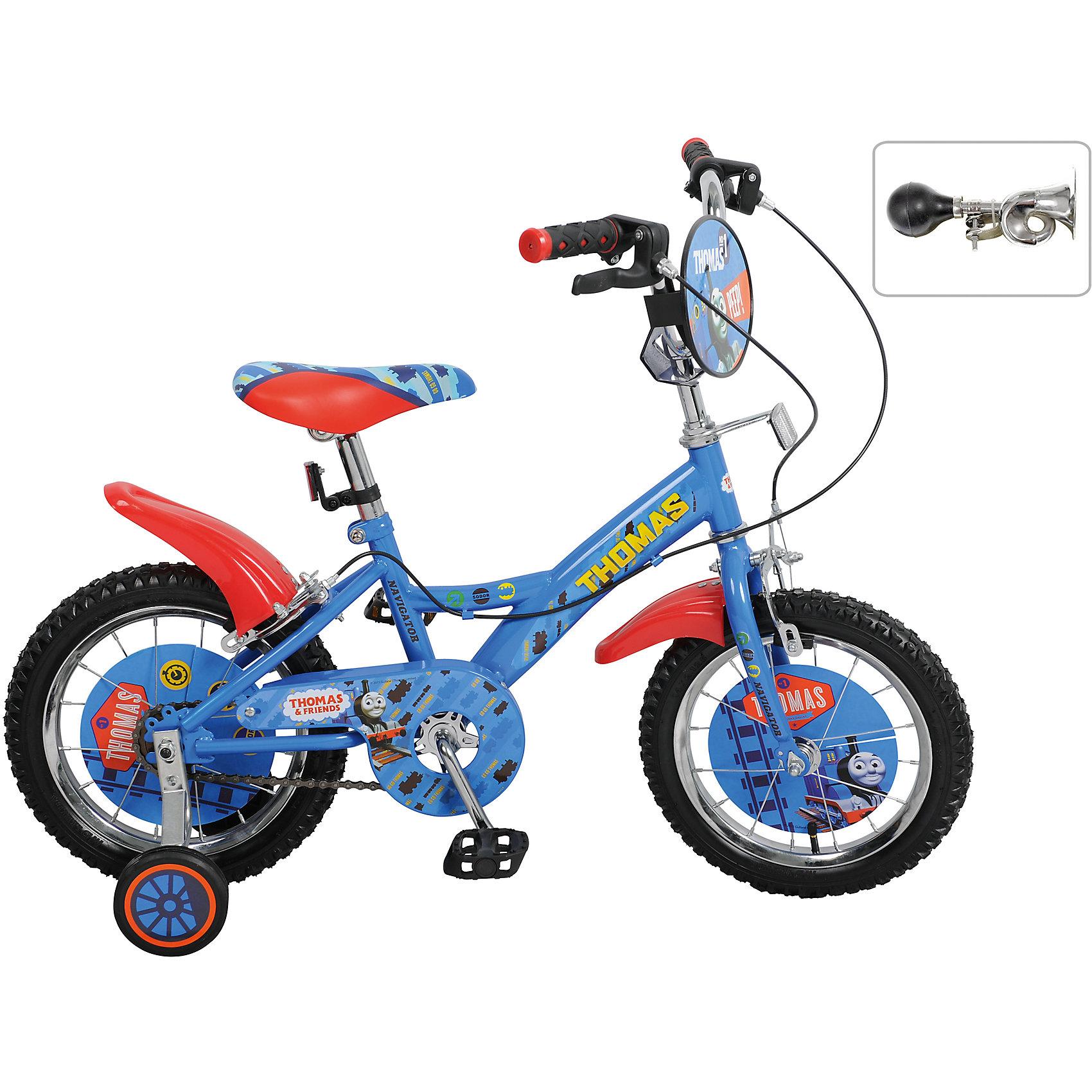 Велосипед Томас и его друзья, NavigatorВелосипеды детские<br>Велосипед Томас и его друзья, Navigator (Навигатор) – это яркий, стильный, надежный велосипед высокого качества.<br>Детский велосипед Томас и его друзья, KITE-тип, обладает яркой расцветкой и стильными формами. продуманная конструкция сводит к минимуму риск получить травму. Он идеален для тех, кто только учится кататься и не умеет держать равновесие. Рама велосипеда выполнена из высокопрочного металла. Покрытие рамы устойчиво к царапинам. Высота руля и сиденья легко регулируется в соответствии с возрастом и ростом ребенка. На руле есть защитный щиток. Колеса оснащены резиновыми шинами, которые хорошо удерживают воздух. Велосипед имеет дополнительные широкие страховочные колеса, передний и задний ручной тормоз, защиту цепи, удобное сиденье эргономичной формы, клаксон, задний багажник, светоотражающие элементы для безопасной езды в темное время суток. Основные колеса с пластиковыми крыльями декорированы яркими вставками. На ручках руля нескользящие накладки. Катание на велосипеде поможет ребенку укрепить опорно-двигательную и сердечно-сосудистую системы.<br><br>Дополнительная информация:<br><br>- Возрастная категория: 4 -6 лет<br>- Подходит для детей ростом 95 - 115 см.<br>- Диаметр колёс: 14 дюймов<br>- Односоставной шатун<br>- Материал рамы: сталь<br>- Вес в упаковке: 9,6 кг.<br><br>Велосипед Томас и его друзья, Navigator (Навигатор) можно купить в нашем интернет-магазине.<br><br>Ширина мм: 800<br>Глубина мм: 170<br>Высота мм: 360<br>Вес г: 9600<br>Возраст от месяцев: 48<br>Возраст до месяцев: 120<br>Пол: Мужской<br>Возраст: Детский<br>SKU: 4655134