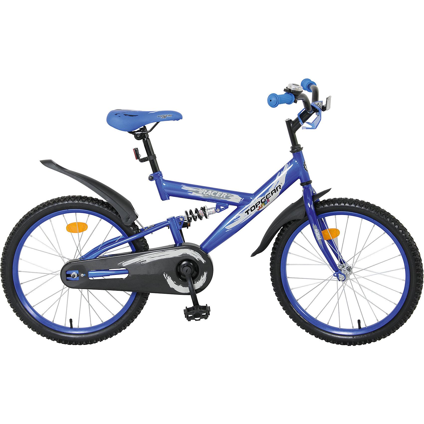 Велосипед Junior Racer, синий, Top GearВелосипед Junior Racer, синий, Top Gear (Топ Гир) - это взрослое качество и характеристики в детском велосипеде!<br>Top Gear Junior - коллекция люксового сегмента, велосипеды взрослого качества и конструкции - специально для детей. Продукция Top Gear Junior обладает всеми улучшенными характеристиками Navigator, а также своими уникальными особенностями. Велосипеды выгодно выделяются, благодаря яркому цветному дизайну седла и вставок в колёса и разнообразным дополнительным аксессуарам. Велосипед Junior Racer имеет двухподвесную амортизационную раму, еврокаретку и полную защиту цепи, что делает его надежным и комфортным. Ручки велосипеда покрыты нескользящими накладками. Сидение мягкое, эргономичное, регулируется по высоте. Педали имеют противоскользящую рифленую поверхность. Комплектуется выдвижной подножкой, звонком, светоотражателями. Надежный и функциональный велосипед Junior Racer одинаково подойдет и для прогулок по городу, и для езды по пересеченной местности.<br><br>Дополнительная информация:<br><br>- Велосипед предназначен для детей от 7 до 14 лет<br>- Подходит для детей ростом 120 - 145 см<br>- Тип велосипеда: горный<br>- Конструкция вилки: жесткая<br>- Модель универсальна, предназначена для девочек и мальчиков<br>- Диаметр колес: 20 дюймов<br>- Цвет: синий<br>- Материал рамы: сталь<br>- Материал руля: сталь<br>- Вес в упаковке: 12,7 кг.<br><br>Велосипед Junior Racer, синий, Top Gear (Топ Гир) можно купить в нашем интернет-магазине.<br><br>Ширина мм: 1080<br>Глубина мм: 165<br>Высота мм: 510<br>Вес г: 12700<br>Возраст от месяцев: 84<br>Возраст до месяцев: 144<br>Пол: Унисекс<br>Возраст: Детский<br>SKU: 4655140