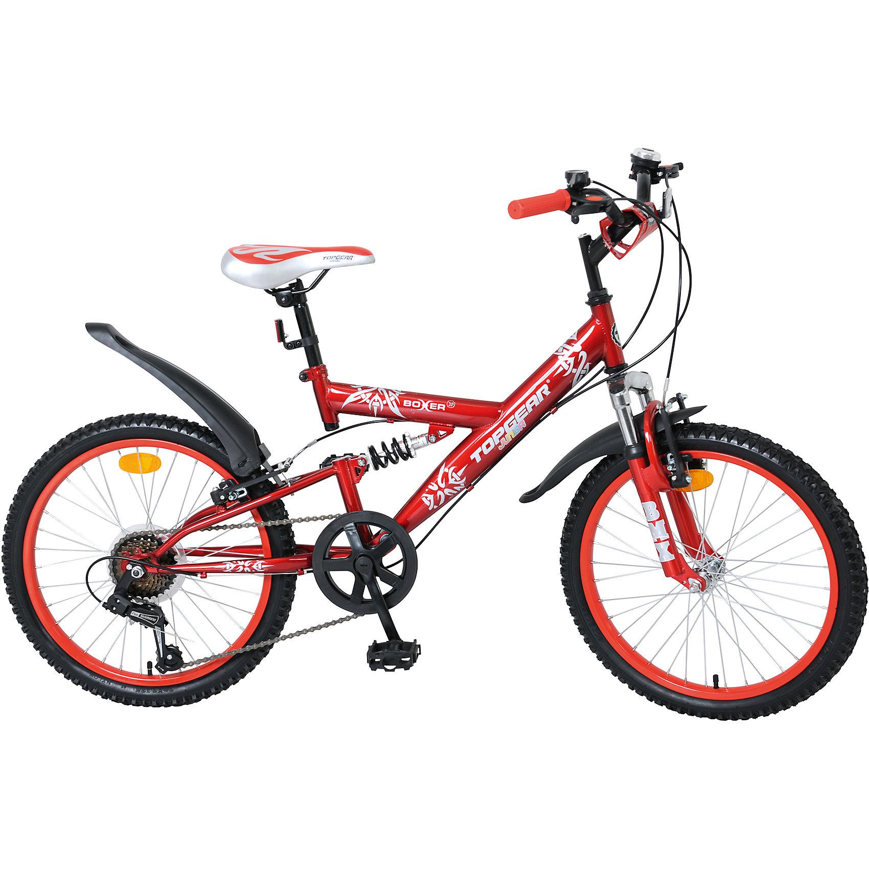 Велосипед Junior Boxer, Top GearВелосипеды детские<br>Велосипед Junior Boxer, Top Gear (Топ Гир) - это взрослое качество и характеристики в детском велосипеде!<br>Top Gear Junior - коллекция люксового сегмента, велосипеды взрослого качества и конструкции - специально для детей. Продукция Top Gear Junior обладает всеми улучшенными характеристиками Navigator, а также своими уникальными особенностями. Велосипеды выгодно выделяются, благодаря яркому цветному дизайну седла и вставок в колёса и разнообразным дополнительным аксессуарам. Велосипед Junior Boxer имеет жесткую двухподвесную стальную раму, еврокаретку, 6 скоростных режимов, которые плавно переключаются, тормозную систему V-brake, изогнутый руль с возможностью регулировки по высоте. Модель комплектуется функциональными крыльями, которые удачно дополняют дизайн, звонком, накладкой на руль. Надежный и функциональный велосипед Junior Boxer одинаково подойдет и для прогулок по городу, и для езды по пересеченной местности.<br><br>Дополнительная информация:<br><br>- Велосипед предназначен для детей от 7 до 14 лет<br>- Подходит для детей ростом 120 - 145 см<br>- Тип велосипеда: горный<br>- Модель универсальна, предназначена для девочек и мальчиков<br>- Диаметр колес: 20 дюймов<br>- Размер рамы: 14 дюймов<br>- Двойной обод из алюминия<br>- Система переключения передач Shimano<br>- Цвет: красный, серебристый<br>- Материал рамы: сталь<br>- Материал руля: сталь<br>- Вес в упаковке: 15,3 кг.<br><br>Велосипед Junior Boxer, Top Gear (Топ Гир) можно купить в нашем интернет-магазине.<br><br>Ширина мм: 1110<br>Глубина мм: 180<br>Высота мм: 520<br>Вес г: 15300<br>Возраст от месяцев: 84<br>Возраст до месяцев: 144<br>Пол: Унисекс<br>Возраст: Детский<br>SKU: 4655141