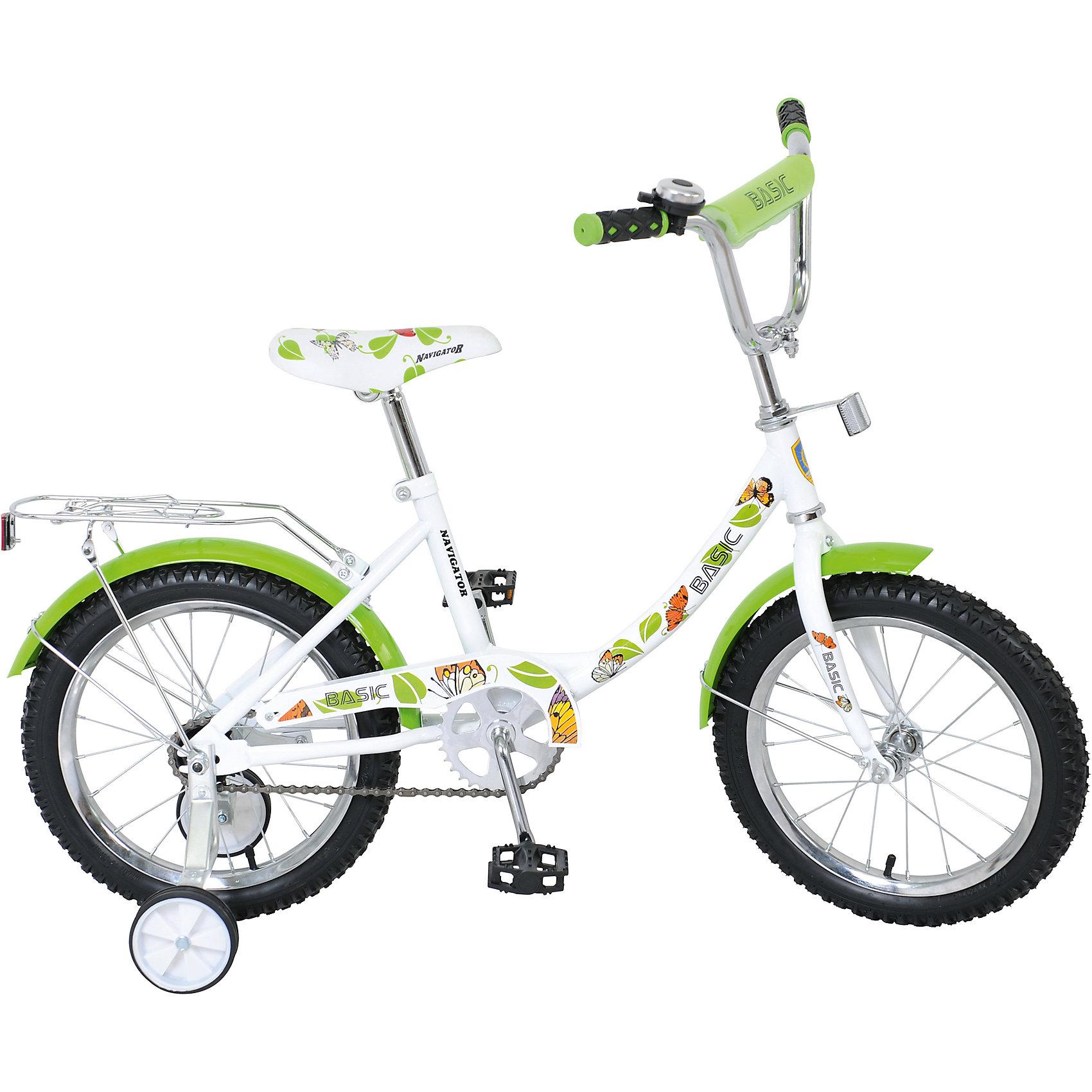 Велосипед Basic, бело-зеленый, NavigatorВелосипед Basic, бело-зеленый, Navigator (Навигатор) – это яркий, стильный, надежный велосипед высокого качества.<br>Детский велосипед Basic, обладает яркой расцветкой и стильными формами. продуманная конструкция сводит к минимуму риск получить травму. Рама велосипеда выполнена из высокопрочного металла. Покрытие рамы устойчиво к царапинам. Высота руля и сиденья легко регулируется в соответствии с возрастом и ростом ребенка. Колеса оснащены резиновыми шинами, которые хорошо удерживают воздух. Велосипед имеет дополнительные широкие страховочные колеса, защиту цепи, стальные обода для защиты от брызг, удобное сиденье эргономичной формы, звонок, задний багажник. На ручках руля нескользящие накладки. Катание на велосипеде поможет ребенку укрепить опорно-двигательную и сердечнососудистую системы.<br><br>Дополнительная информация:<br><br>- Возрастная категория: от 5 до 7 лет<br>- Подходит для детей ростом 100 - 125 см.<br>- Диаметр колёс: 16 дюймов<br>- Односоставной шатун<br>- Ножной тормоз<br>- Рама: 12B-тип<br>- Материал рамы: сталь<br>- Цвет: белый, зеленый<br>- Вес в упаковке: 10,8 кг.<br><br>Велосипед Basic, бело-зеленый, Navigator (Навигатор) можно купить в нашем интернет-магазине.<br><br>Ширина мм: 890<br>Глубина мм: 170<br>Высота мм: 420<br>Вес г: 10800<br>Возраст от месяцев: 60<br>Возраст до месяцев: 120<br>Пол: Унисекс<br>Возраст: Детский<br>SKU: 4655146
