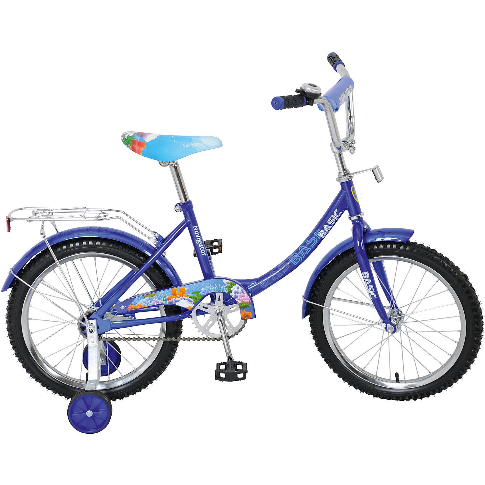 Велосипед Basic, синий, NavigatorВелосипеды детские<br>Велосипед Basic, синий, Navigator (Навигатор) – это яркий, стильный, надежный велосипед высокого качества.<br>Детский велосипед Basic, обладает яркой расцветкой и стильными формами. Продуманная конструкция сводит к минимуму риск получить травму. Рама велосипеда выполнена из высокопрочного металла. Покрытие рамы устойчиво к царапинам. Высота руля и сиденья легко регулируется в соответствии с возрастом и ростом ребенка. Колеса оснащены резиновыми шинами, которые хорошо удерживают воздух. Велосипед имеет дополнительные съемные страховочные колеса, защиту цепи, стальные обода для защиты от брызг, удобное сиденье эргономичной формы, звонок, задний багажник. Впереди и под багажником прикреплены светоотражатели. На ручках руля нескользящие накладки. Катание на велосипеде поможет ребенку укрепить опорно-двигательную и сердечнососудистую системы.<br><br>Дополнительная информация:<br><br>- Возрастная категория: от 4 до 7 лет<br>- Диаметр колёс: 18 дюймов<br>- Односоставной шатун<br>- Ножной тормоз<br>- Рама: 12B-тип<br>- Материал рамы: сталь<br>- Цвет: синий<br>- Вес в упаковке: 11,7 кг.<br><br>Велосипед Basic, синий, Navigator (Навигатор) можно купить в нашем интернет-магазине.<br><br>Ширина мм: 970<br>Глубина мм: 165<br>Высота мм: 470<br>Вес г: 11700<br>Возраст от месяцев: 72<br>Возраст до месяцев: 144<br>Пол: Унисекс<br>Возраст: Детский<br>SKU: 4655147
