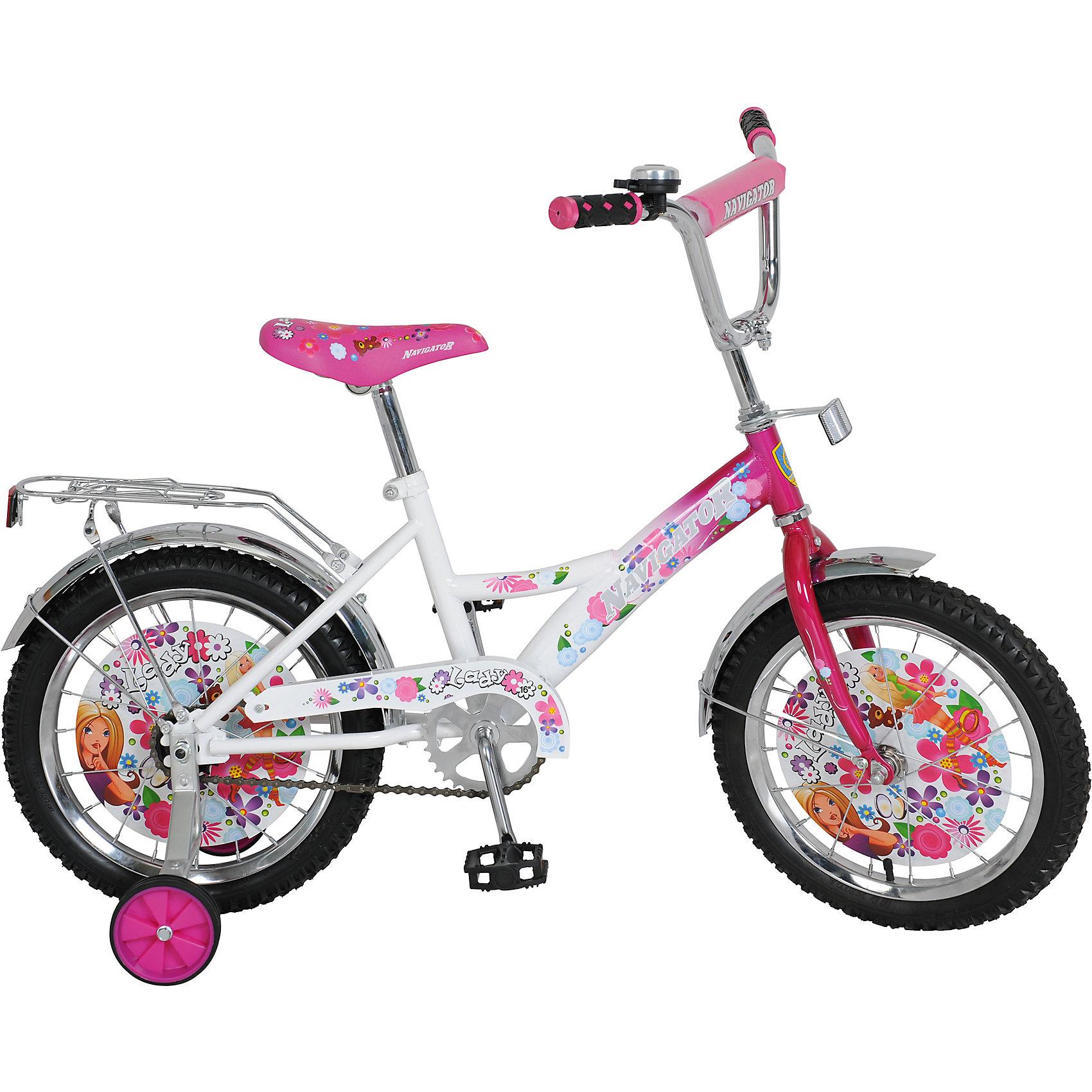 Велосипед Lady, бело-розовый, NavigatorВелосипед Lady, бело-розовый, Navigator (Навигатор) – это яркий, стильный, надежный велосипед высокого качества.<br>Детский велосипед Lady - это невероятно яркая, элегантная и интересная модель транспортного средства. Продуманная конструкция сводит к минимуму риск получить травму. Рама велосипеда выполнена из высокопрочного металла. Покрытие рамы устойчиво к царапинам. Высота руля и сиденья легко регулируется в соответствии с возрастом и ростом ребенка. Колеса оснащены резиновыми шинами, которые хорошо удерживают воздух. Велосипед имеет дополнительные съемные страховочные колеса, защиту цепи, стальные обода для защиты от брызг, удобное сиденье эргономичной формы, звонок, задний багажник. Впереди и под багажником прикреплены светоотражатели. На ручках руля нескользящие накладки. Основные колеса декорированы яркими вставками. Катание на велосипеде поможет ребенку укрепить опорно-двигательную и сердечнососудистую системы.<br><br>Дополнительная информация:<br><br>- Возрастная категория: от 4 до 6 лет<br>- Подходит для детей ростом 100-125 см.<br>- Диаметр колёс: 16 дюймов<br>- Односоставной шатун<br>- Ножной тормоз<br>- Рама: KITE-тип<br>- Материал рамы: сталь<br>- Цвет: белый, розовый<br>- Вес в упаковке: 10,85 кг.<br><br>Велосипед Lady, бело-розовый, Navigator (Навигатор) можно купить в нашем интернет-магазине.<br><br>Ширина мм: 890<br>Глубина мм: 170<br>Высота мм: 420<br>Вес г: 10850<br>Возраст от месяцев: 60<br>Возраст до месяцев: 120<br>Пол: Женский<br>Возраст: Детский<br>SKU: 4655148