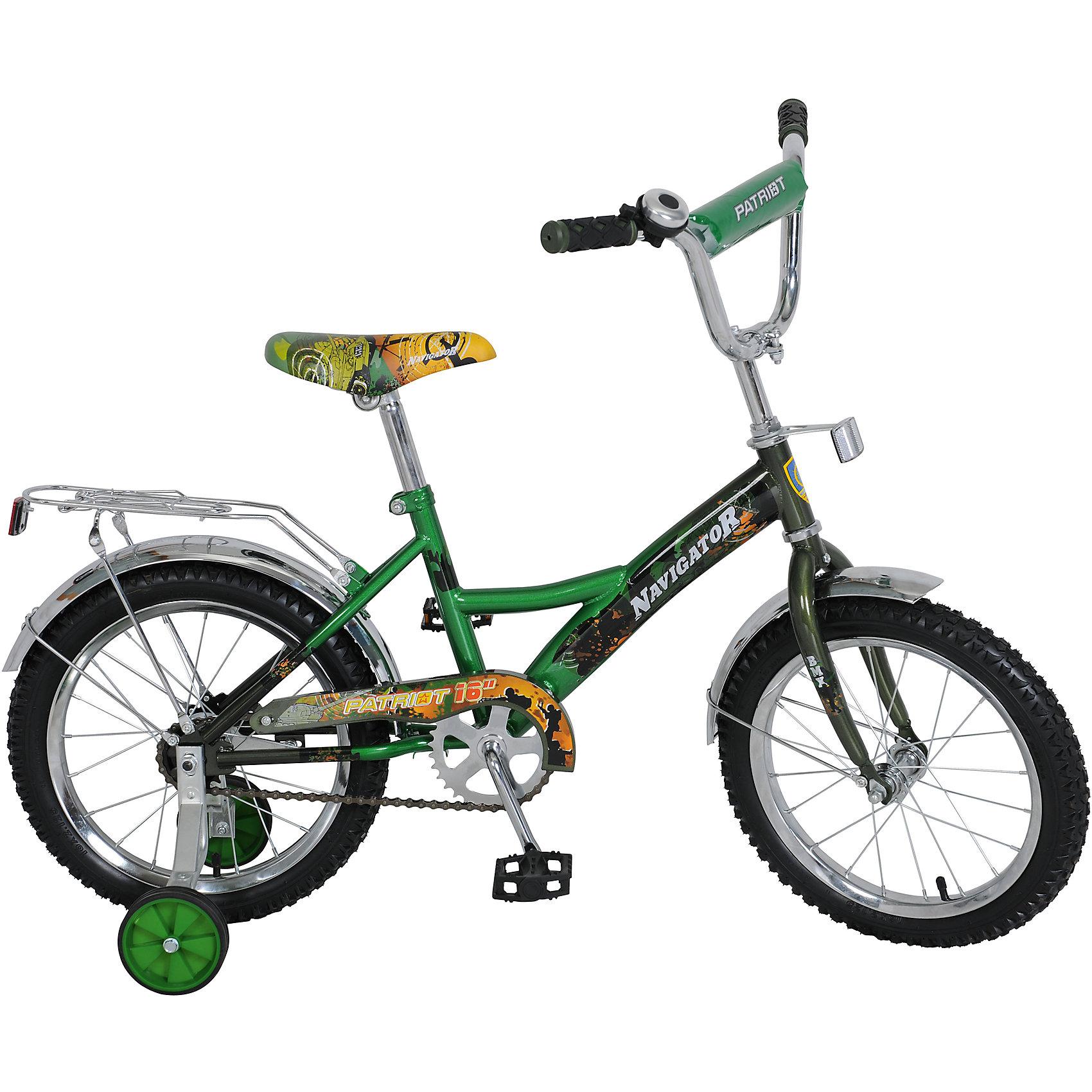 Велосипед Patriot, зеленый, NavigatorВелосипеды детские<br>Велосипед Patriot, зеленый, Navigator (Навигатор) – это яркий, стильный, надежный велосипед высокого качества.<br>Детский велосипед Patriot имеет эффектный, спортивный дизайн. Продуманная конструкция сводит к минимуму риск получить травму. Рама велосипеда выполнена из высокопрочного металла. Покрытие рамы устойчиво к царапинам. Высота руля и сиденья легко регулируется в соответствии с возрастом и ростом ребенка. Колеса оснащены резиновыми шинами, которые хорошо удерживают воздух. Велосипед имеет дополнительные съемные страховочные колеса, защиту цепи, стальные обода для защиты от брызг, удобное сиденье эргономичной формы, задний багажник. Впереди и под багажником прикреплены светоотражатели. На ручках руля нескользящие накладки. Катание на велосипеде поможет ребенку укрепить опорно-двигательную и сердечнососудистую системы.<br><br>Дополнительная информация:<br><br>- Возрастная категория: от 4 до 6 лет<br>- Подходит для детей ростом 100-125 см.<br>- Диаметр колёс: 16 дюймов<br>- Односоставной шатун<br>- Ножной тормоз<br>- Рама: KITE-тип<br>- Материал рамы: сталь<br>- Цвет: зеленый<br>- Вес в упаковке: 10,85 кг.<br><br>Велосипед Patriot, зеленый, Navigator (Навигатор) можно купить в нашем интернет-магазине.<br><br>Ширина мм: 890<br>Глубина мм: 170<br>Высота мм: 420<br>Вес г: 10850<br>Возраст от месяцев: 60<br>Возраст до месяцев: 120<br>Пол: Мужской<br>Возраст: Детский<br>SKU: 4655149