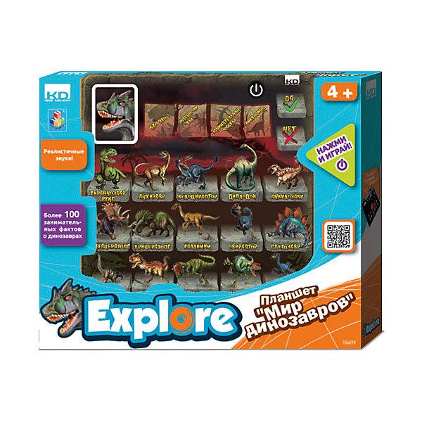 Планшет Kidz Delight Мир динозавров, 1ToyДетские гаджеты<br>Планшет Kidz Delight Мир динозавров, 1Toy – это обучающая игрушка, которая будет интересна детям дошкольного возраста и первоклассникам.<br>Планшет Мир динозавров - одна из обучающих игрушек новой серии Я познаю мир. В планшете 5 режимов игры. Выбрав большую картинку в левом верхнем углу с изображением динозавра и нажимая на картинки 15 динозавров, можно услышать голоса динозавров. В режиме Кто это? ребенок узнает, как называются изображенные на картинках динозавры и как звучат их голоса. В режиме Знаешь ли ты? ребенок найдет информацию о том, что едят динозавры и что означают их названия. Режим Занимательные факты знакомит с интересными фактами о динозаврах. В режиме Викторина ребенок проверит свои знания о динозаврах, ответив на несколько вопросов. Планшет поможет развить логику, наблюдательность, память Вашего ребенка, улучшит и укрепит знания о вымерших обитателях нашей планеты.<br><br>Дополнительная информация:<br><br>- 15 самых известных представителей динозавров<br>- Более 100 неведомых фактов об этих животных<br>- 5 режимов игры<br>- Размер: 20 х 1,5 х 20 см.<br>- Батарейки: 2 типа АА (входят в комплект)<br>- Материал: пластик<br>- Внутри коробки подробное руководство по использованию<br>- Упаковка: открытая коробка<br>- Размер упаковки: 30 х 25 х 5 см.<br><br>Планшет Kidz Delight Мир динозавров, 1Toy можно купить в нашем интернет-магазине.<br><br>Ширина мм: 300<br>Глубина мм: 50<br>Высота мм: 250<br>Вес г: 538<br>Возраст от месяцев: 48<br>Возраст до месяцев: 120<br>Пол: Унисекс<br>Возраст: Детский<br>SKU: 4655154