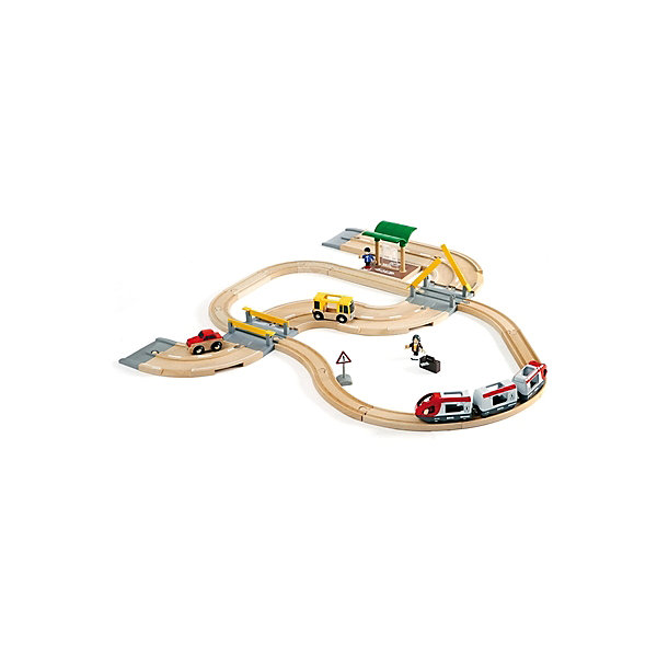 Железная дорога с переездом, BrioЖелезные дороги<br>Железная дорога с переездом, Brio (Брио) – игровой набор обязательно заинтересует вашего ребенка и не позволит ему скучать.<br>В состав набора деревянной железной дороги от Brio (Брио) входит железнодорожное полотно, пассажирский поезд, состоящий из трёх вагонов, пассажирская станция, пассажиры, чемодан и машинист поезда, полотно автомобильной дороги, два переезда, автобус и легковой автомобиль. Автомобильная дорога оканчивается съездами, позволяющими машинкам съезжать с её полотна и ездить по полу. Машиниста пассажирского поезда можно посадить в головные вагоны поезда или присоединить его к пассажирам и сажать в автобус. У фигурок человечков сгибаются ручки и ножки. Поезд двигается рельсам за счет механического воздействия. Железная дорога очень надежна и проста в сборке, кроме того набор изготовлен из лучших, экологически чистых материалов, и абсолютно безопасен для детей. Игра с набором развивает моторику, логическое мышление, фантазию.<br><br>Дополнительная информация:<br><br>- В комплекте 33 элемента: секции железной дороги 13 шт, секции автомобильной дороги 5 шт., железнодорожная станция, переезд со шлагбаумом 2 шт, локомотив, пассажирский вагон 2 шт, автобус, легковой автомобиль, знак «Внимание», фигурки человечков - 3 шт.,  чемодан<br>- Материал: древесина, окрашенная нетоксичными красками, пластик<br>- Размер площадки: 75х76 см.<br>- Длина железнодорожного полотна: 190,6 см.<br>- Длина автодорожного полотна: 121,6 см.<br>- Размер упаковки: 34,5 х 10 х 39 см.<br>- Вес: 2267 гр.<br><br>Железную дорогу с переездом, Brio (Брио) можно купить в нашем интернет-магазине.<br><br>Ширина мм: 345<br>Глубина мм: 100<br>Высота мм: 390<br>Вес г: 2267<br>Возраст от месяцев: 36<br>Возраст до месяцев: 84<br>Пол: Унисекс<br>Возраст: Детский<br>SKU: 4655174