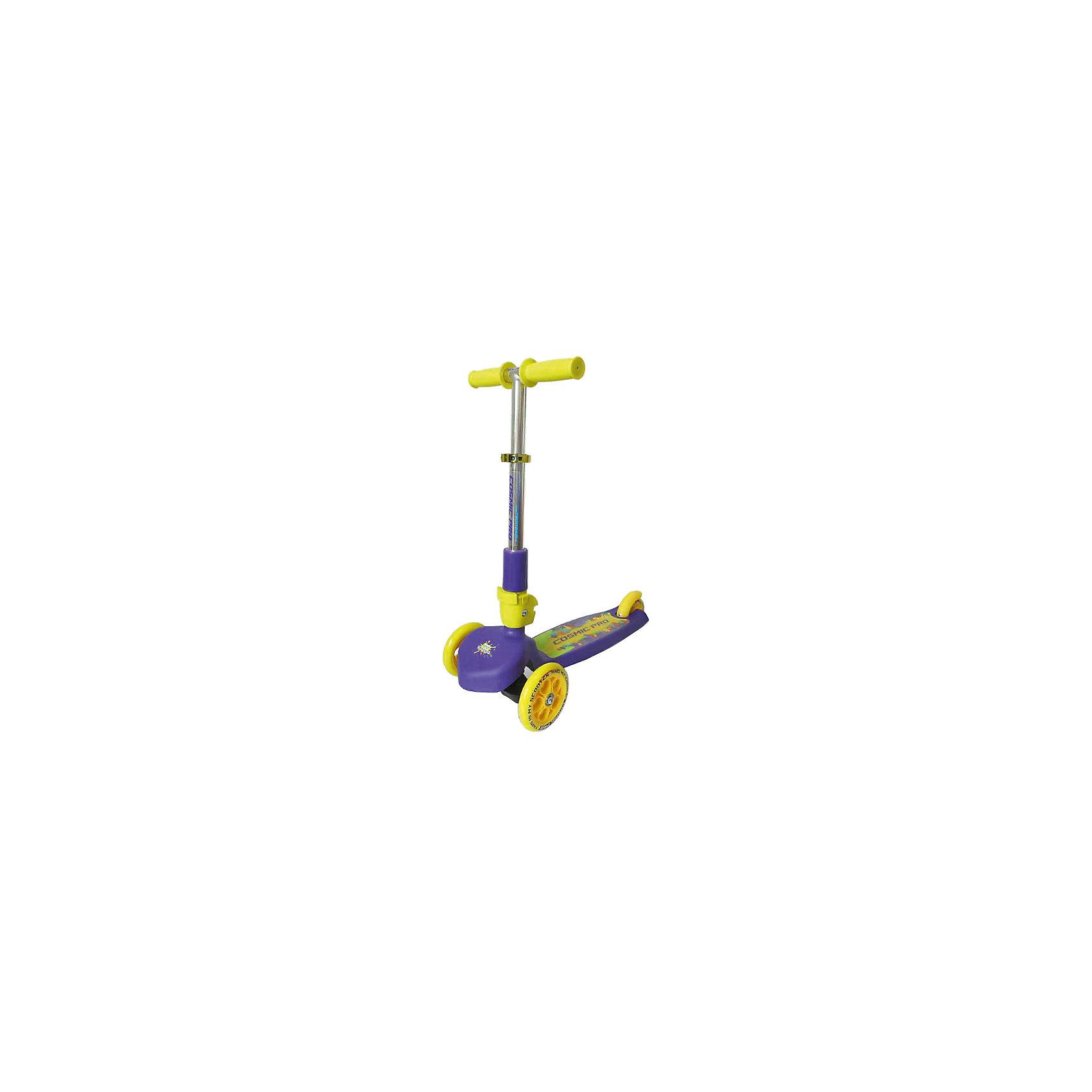 Самокат TT Cosmic pro, фиолетовыйСамокат TT Cosmic pro 1/4 желтый от марки Tech Team<br><br>Удобный яркий самокат - мечта большинства детей на это лето. Он позволит не только отлично проводить время, но и поддерживать здоровую физическую форму. Эта модель выполнена в яркой расцветке: желтый и синий тона. <br>Тщательно проработанный выдвижной механизм руля позволяет за секунды подстроить его под ребенка. Нога располагается на удобной поверхности, что обеспечивает безопасность езды на самокате. Не забудьте обеспечить ребенка налокотниками и наколенниками. Выполненные в стильном дизайне, они станут отличным элементом модного образа ребенка.<br><br>Отличительные особенности модели:<br><br>складной механизм руля;<br>материал: ударостойкий пластик;<br>цвет: желтый, синий;<br>размер платформы: 29,5 x 11 см;<br>материал ручки: алюминий;<br>размер передних колес: 120 х 24 мм;<br>размер заднего колеса: 100 х 24 мм;<br>подшипники: AВЕС 5 carbon.<br><br>Самокат TT Cosmic pro 1/4 желтый от марки Tech Team можно купить в нашем магазине.<br><br>Ширина мм: 590<br>Глубина мм: 290<br>Высота мм: 280<br>Вес г: 2500<br>Возраст от месяцев: 24<br>Возраст до месяцев: 48<br>Пол: Унисекс<br>Возраст: Детский<br>SKU: 4657065