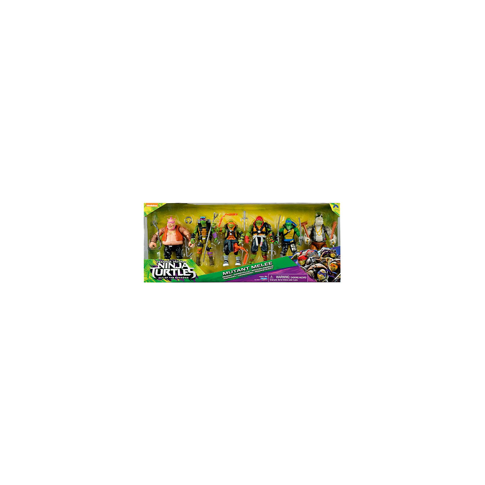 Набор из 6 фигурок, 11-13 см, Черепашки НиндзяНабор из 6 фигурок, Черепашки Ниндзя, Movie Line, станет приятным сюрпризом для Вашего ребенка, особенно если он является поклонником популярного мультсериала Черепашки Ниндзя. Отважные черепашки-мутанты, владеющие боевыми искусствами, переживают невероятные приключения, спасая мир от злодеев. В игровом наборе представлены все четверо братьев-черепашек - Донателло, Рафаэль, Микеланджело и Леонардо, а также их противники - помощники злодея Шредера - Бибоп и Рокстеди. Все фигурки выполнены с высокой степенью детализации и полностью повторяют своих экранных персонажей. У каждой из фигурок есть свое оружие, подвижные руки и ноги.<br><br>Дополнительная информация:<br><br>- В комплекте: 6 фигурок + оружие к ним.<br>- Материал: пластик.<br>- Высота фигурок: 11-13 см.<br>- Размер упаковки: 19 x 35,5 x 6,4 см.  <br>- Вес: 0,975 кг. <br><br>Набор из 6 фигурок, 11-13 см., Черепашки Ниндзя, Movie Line, можно купить в нашем интернет-магазине.<br><br>Ширина мм: 190<br>Глубина мм: 355<br>Высота мм: 64<br>Вес г: 975<br>Возраст от месяцев: 36<br>Возраст до месяцев: 144<br>Пол: Мужской<br>Возраст: Детский<br>SKU: 4657951