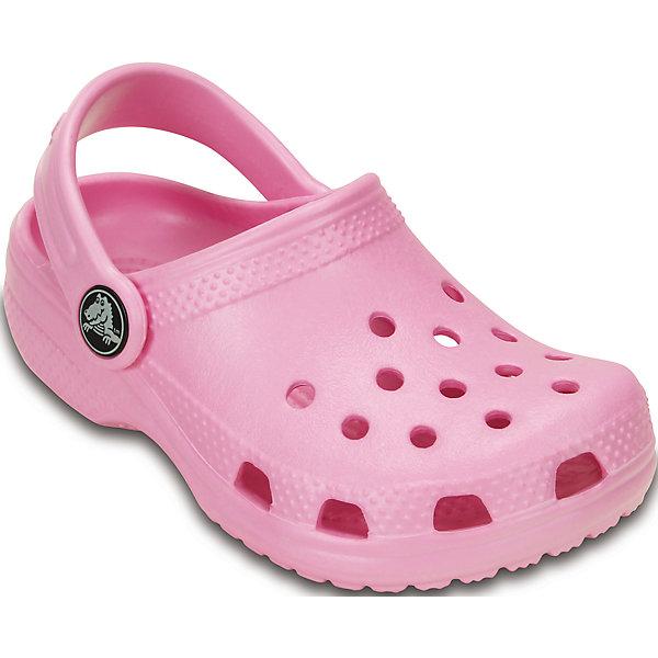 Сабо Kids Classic CrocsПляжная обувь<br>Характеристики товара:<br><br>• цвет: розовый<br>• материал: 100% полимер Croslite™<br>• под воздействием температуры тела принимают форму стопы<br>• полностью литая модель<br>• вентиляционные отверстия<br>• бактериостатичный материал<br>• пяточный ремешок фиксирует стопу<br>• толстая устойчивая подошва<br>• отверстия для использования украшений<br>• анатомическая стелька с массажными точками стимулирует кровообращение<br>• страна бренда: США<br>• страна изготовитель: Китай<br><br>Для правильного развития ребенка крайне важно, чтобы обувь была удобной. Такие сабо обеспечивают детям необходимый комфорт, а анатомическая стелька с массажными линиями для стимуляции кровообращения позволяет ножкам дольше не уставать. Сабо легко надеваются и снимаются, отлично сидят на ноге. Материал, из которого они сделаны, не дает размножаться бактериям, поэтому такая обувь препятствует образованию неприятного запаха и появлению болезней стоп. <br>Обувь от американского бренда Crocs в данный момент завоевала широкую популярность во всем мире, и это не удивительно - ведь она невероятно удобна. Её носят врачи, спортсмены, звёзды шоу-бизнеса, люди, которым много времени приходится бывать на ногах - они понимают, как важна комфортная обувь. Продукция Crocs - это качественные товары, созданные с применением новейших технологий. Обувь отличается стильным дизайном и продуманной конструкцией. Изделие производится из качественных и проверенных материалов, которые безопасны для детей.<br><br>Сабо Kids Classic от торговой марки Crocs можно купить в нашем интернет-магазине.<br>Ширина мм: 225; Глубина мм: 139; Высота мм: 112; Вес г: 290; Цвет: розовый; Возраст от месяцев: 120; Возраст до месяцев: 132; Пол: Женский; Возраст: Детский; Размер: 34/35,21/22,23/24,25/26,27/28,29/30,35/36,33/34; SKU: 4658504;