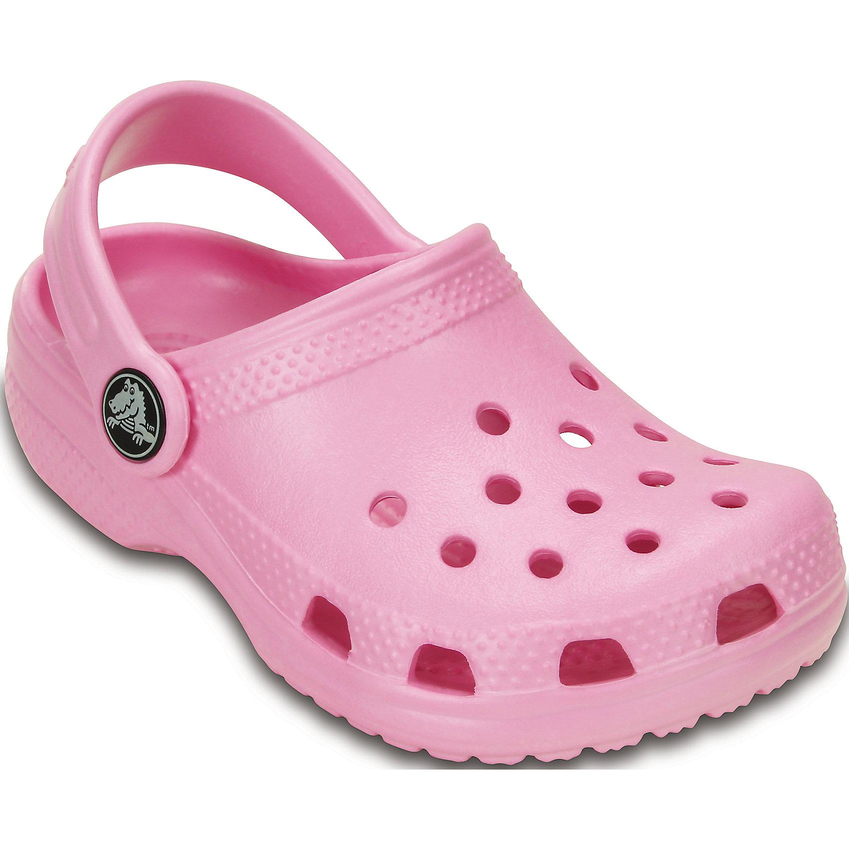 Сабо Kids Classic CrocsПляжная обувь<br>Характеристики товара:<br><br>• цвет: розовый<br>• материал: 100% полимер Croslite™<br>• под воздействием температуры тела принимают форму стопы<br>• полностью литая модель<br>• вентиляционные отверстия<br>• бактериостатичный материал<br>• пяточный ремешок фиксирует стопу<br>• толстая устойчивая подошва<br>• отверстия для использования украшений<br>• анатомическая стелька с массажными точками стимулирует кровообращение<br>• страна бренда: США<br>• страна изготовитель: Китай<br><br>Для правильного развития ребенка крайне важно, чтобы обувь была удобной. Такие сабо обеспечивают детям необходимый комфорт, а анатомическая стелька с массажными линиями для стимуляции кровообращения позволяет ножкам дольше не уставать. Сабо легко надеваются и снимаются, отлично сидят на ноге. Материал, из которого они сделаны, не дает размножаться бактериям, поэтому такая обувь препятствует образованию неприятного запаха и появлению болезней стоп. <br>Обувь от американского бренда Crocs в данный момент завоевала широкую популярность во всем мире, и это не удивительно - ведь она невероятно удобна. Её носят врачи, спортсмены, звёзды шоу-бизнеса, люди, которым много времени приходится бывать на ногах - они понимают, как важна комфортная обувь. Продукция Crocs - это качественные товары, созданные с применением новейших технологий. Обувь отличается стильным дизайном и продуманной конструкцией. Изделие производится из качественных и проверенных материалов, которые безопасны для детей.<br><br>Сабо Kids Classic от торговой марки Crocs можно купить в нашем интернет-магазине.<br><br>Ширина мм: 225<br>Глубина мм: 139<br>Высота мм: 112<br>Вес г: 290<br>Цвет: розовый<br>Возраст от месяцев: 108<br>Возраст до месяцев: 120<br>Пол: Женский<br>Возраст: Детский<br>Размер: 33/34,23/24,35/36,29/30,27/28,34/35,25/26,21/22<br>SKU: 4658504