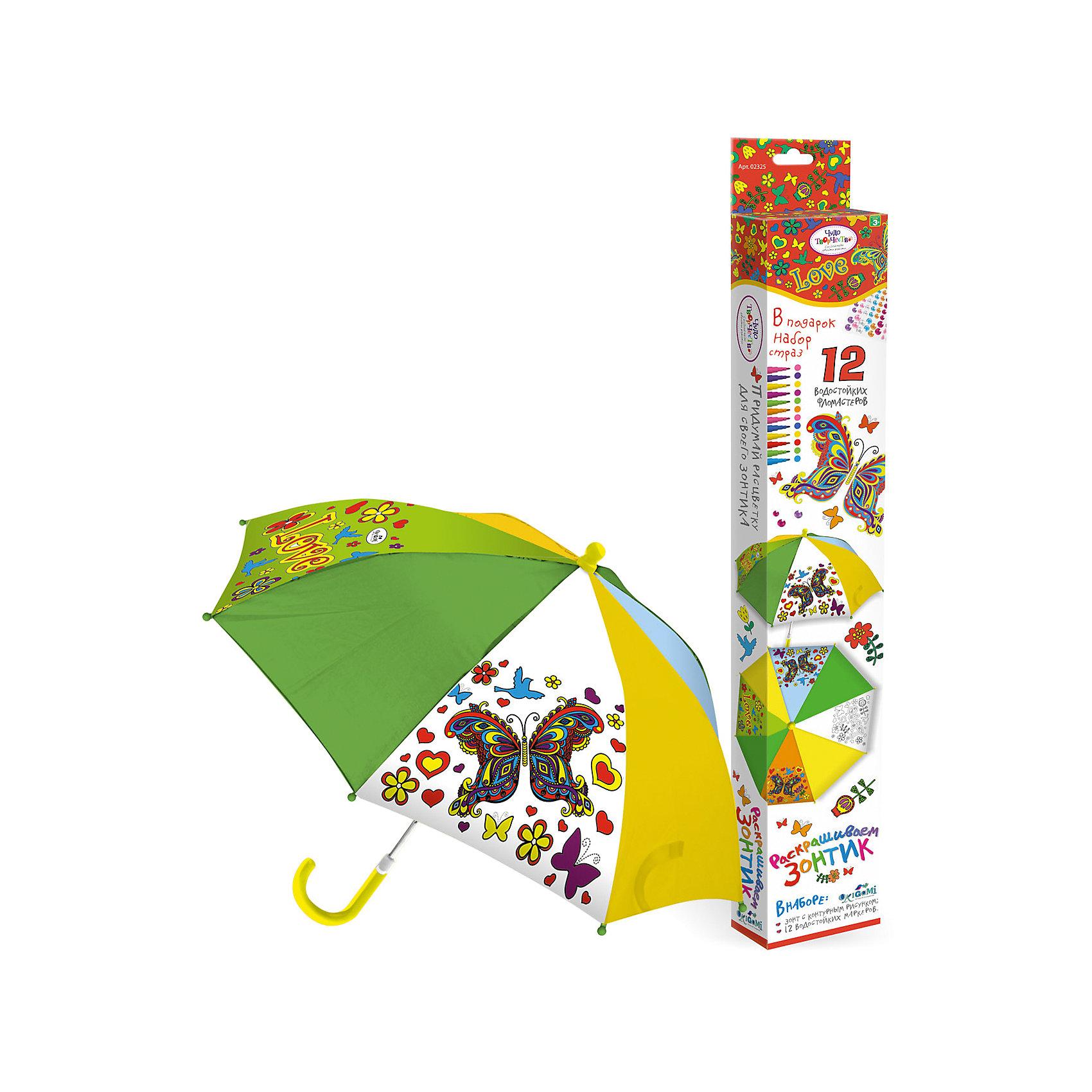 Зонтик для раскрашивания ЦветыЗонтик для раскрашивания Цветы от марки Origami<br><br>Замечательный подарок для девочки - зонтик с изображением цветов. Это яркий красивый аксессуар и платформа для творчества. Ребенок может сам выбирать цвета и раскрашивать изображения с помощью водостойких маркеров. В процессе развивается фантазия, улучшается мелкую моторику рук и координация движений.<br>Чтобы рисунок сохранялся долго и не растекался, ткань зонтика пропитана специальным составом. Нужно лишь подождать пару часов после раскрашивания - и зонтом можно пользоваться! Набор сделан из безопасных для ребенка материалов.<br><br>Особенности изделия:<br><br>диаметр - 67 см;<br>длина ручки - 56 см;<br>цвет - разноцветный;<br>механизм раскрытия  - не автоматический;<br>упаковка - картонная коробка;<br>вес - 314 гр;<br>размер упаковки - 65х10х5 см;<br>стойкие маркеры;<br>специальная пропитка ткани на зонте.<br><br>Комплектация: <br><br>зонт с контурным рисунком;<br>12 водостойких маркеров.<br><br>Зонтик для раскрашивания Цветы от марки Origami можно купить в нашем магазине.<br><br>Ширина мм: 50<br>Глубина мм: 650<br>Высота мм: 100<br>Вес г: 314<br>Возраст от месяцев: 48<br>Возраст до месяцев: 144<br>Пол: Женский<br>Возраст: Детский<br>SKU: 4658540