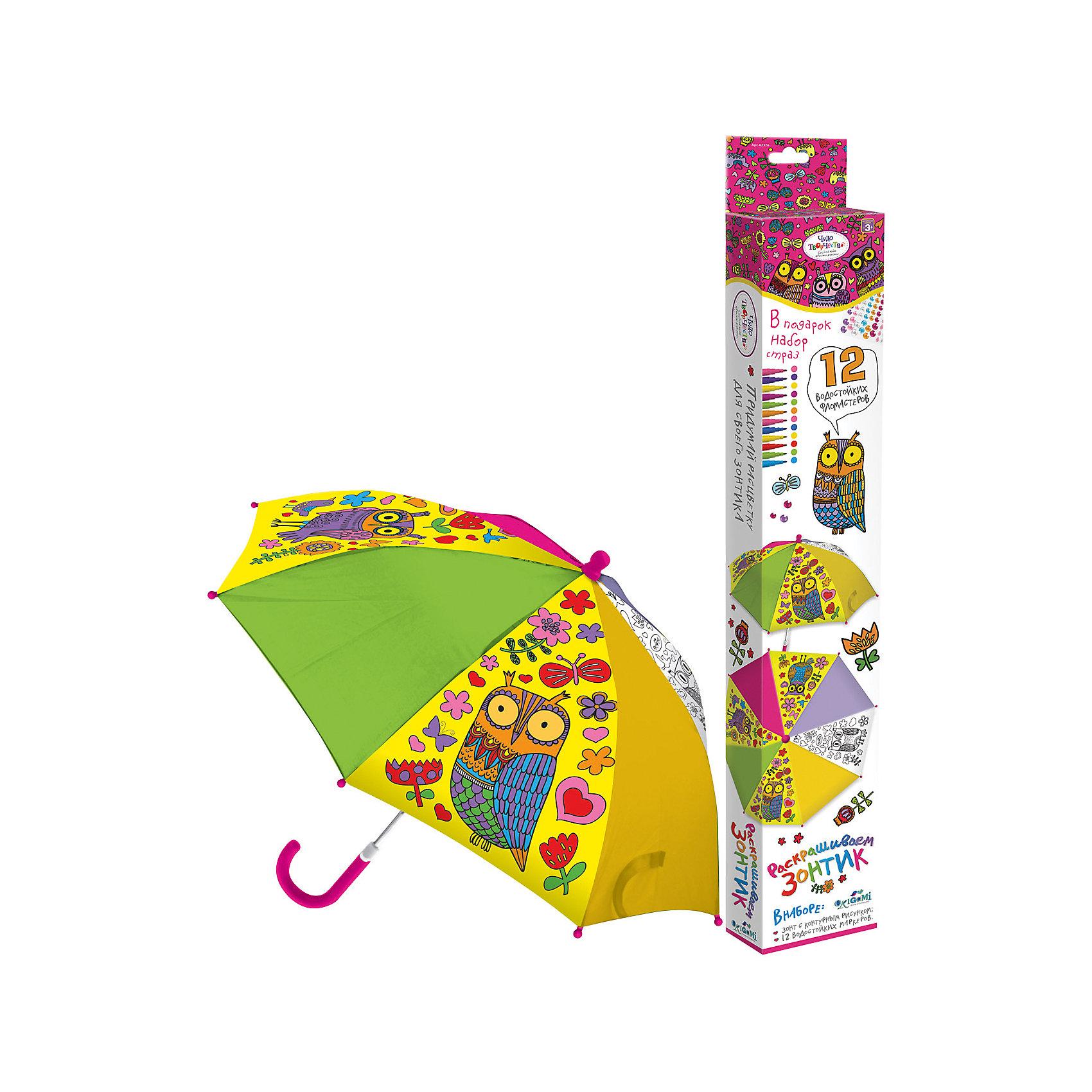 Зонтик для раскрашивания СовыЗонтик для раскрашивания  Совы от марки Origami<br><br>Отличный подарок для ребенка - зонтик с изображением веселых сов. Это яркий красивый аксессуар и платформа для творчества. Ребенок может сам раскрашивать изображения с помощью водостойких маркеров. В процессе развивается фантазия, улучшается мелкую моторику рук и координация движений.<br>Чтобы рисунок сохранялся долго и не растекался, ткань зонтика пропитана специальным составом. Нужно лишь подождать пару часов после раскрашивания - и зонтом можно пользоваться! Набор сделан из безопасных для ребенка материалов.<br><br>Особенности изделия:<br><br>диаметр - 67 см;<br>длина ручки - 56 см;<br>цвет - разноцветный;<br>механизм раскрытия  - не автоматический;<br>упаковка - картонная коробка;<br>вес - 314 гр;<br>размер упаковки - 65х10х5 см;<br>стойкие маркеры;<br>специальная пропитка ткани на зонте.<br><br>Комплектация: <br><br>зонт с контурным рисунком;<br>12 водостойких маркеров.<br><br>Зонтик для раскрашивания  Совы от марки Origami можно купить в нашем магазине.<br><br>Ширина мм: 50<br>Глубина мм: 650<br>Высота мм: 100<br>Вес г: 314<br>Возраст от месяцев: 48<br>Возраст до месяцев: 144<br>Пол: Унисекс<br>Возраст: Детский<br>SKU: 4658541