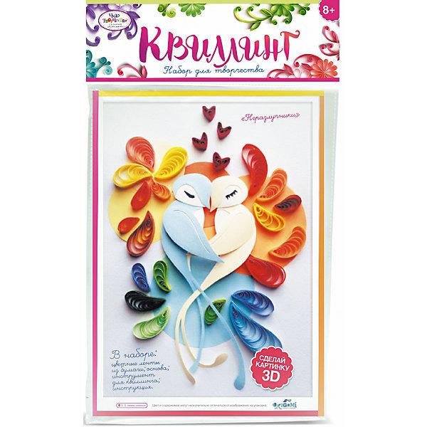 Набор для квиллинга «Неразлучники»Бумага<br>Набор для квиллинга «Неразлучники» от марки Origami<br><br>Замечательный подарок для ребенка - набор для творчества. Он поможет самостоятельно сделать объемную аппликацию из бумаги. Делается это очень просто, а в результате получается красивая картина. <br>В процессе у ребенка развивается воображение, художественный вкус и мелкая моторика. Получившийся результат поможет ему поверить в свои силы! Набор сделан из безопасных для ребенка материалов.<br><br>Особенности изделия:<br><br>состав - бумага, картон, дерево;<br>цвет - разноцветный;<br>упаковка - конверт с хедером;<br>размер упаковки - 0.5 x 36 x 21.5 см.<br><br>Комплектация: <br><br>основа-шаблон;<br>разноцветные бумажные ленты для квиллинга);<br>палочка для накручивания.<br><br>Набор для квиллинга «Неразлучники» от марки Origami можно купить в нашем магазине.<br>Ширина мм: 215; Глубина мм: 360; Высота мм: 5; Вес г: 23; Возраст от месяцев: 96; Возраст до месяцев: 192; Пол: Женский; Возраст: Детский; SKU: 4658555;