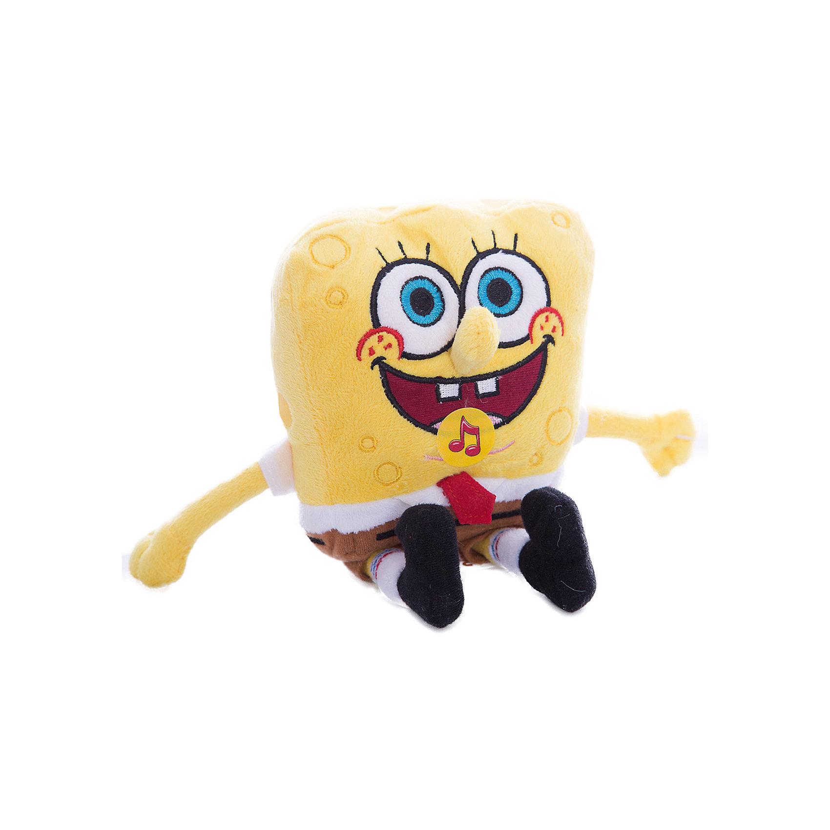 Мягкая игрушка Губка Боб, 14 см, со звуком, МУЛЬТИ-ПУЛЬТИМягкая игрушка Губка Боб со звуком от марки МУЛЬТИ-ПУЛЬТИ<br><br>Мягкая озвученная игрушка от отечественного производителя сделана в виде известного персонажа из мультфильма. Она поможет ребенку проводить время весело и с пользой. В игрушке есть встроенный звуковой модуль, который позволяет ей говорить 10 разных фраз.<br>Размер игрушки небольшой - 14 сантиметров, её удобно брать с собой в поездки и на прогулку. Сделан Губка Боб из качественных и безопасных для ребенка материалов, которые еще и приятны на ощупь. <br><br>Отличительные особенности игрушки:<br><br>- материал: текстиль, пластик;<br>- звуковой модуль;<br>- язык: русский;<br>- произносит 10 фраз;<br>- работает на батарейках;<br>- высота: 14 см.<br><br>Мягкую игрушку Губка Боб от марки МУЛЬТИ-ПУЛЬТИ можно купить в нашем магазине.<br><br>Ширина мм: 300<br>Глубина мм: 380<br>Высота мм: 320<br>Вес г: 250<br>Возраст от месяцев: 36<br>Возраст до месяцев: 84<br>Пол: Унисекс<br>Возраст: Детский<br>SKU: 4659470