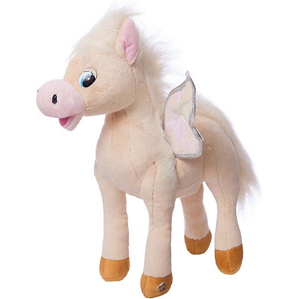 Мягкая игрушка  Лошадка с крыльями, 25 см, МУЛЬТИ-ПУЛЬТИМягкие игрушки животные<br>Мягкая игрушка Лошадка с крыльями со звуком от марки МУЛЬТИ-ПУЛЬТИ<br><br>Очаровательная мягкая игрушка от отечественного производителя сделана в виде лошадки. Она поможет ребенку проводить время весело и с пользой. В игрушке есть встроенный звуковой модуль, работающий на батарейках. Она произносит 8 фраз.<br>Размер игрушки универсален - 25 сантиметров, её удобно брать с собой в поездки и на прогулку. Сделана она из качественных и безопасных для ребенка материалов, которые еще и приятны на ощупь. <br><br>Отличительные особенности  игрушки:<br><br>- материал: текстиль, пластик;<br>- звуковой модуль;<br>- язык: русский;<br>- работает на батарейках;<br>- высота: 25 см.<br><br>Мягкую игрушку Лошадка с крыльями от марки МУЛЬТИ-ПУЛЬТИ можно купить в нашем магазине.<br><br>Ширина мм: 290<br>Глубина мм: 520<br>Высота мм: 520<br>Вес г: 420<br>Возраст от месяцев: 36<br>Возраст до месяцев: 84<br>Пол: Унисекс<br>Возраст: Детский<br>SKU: 4659475