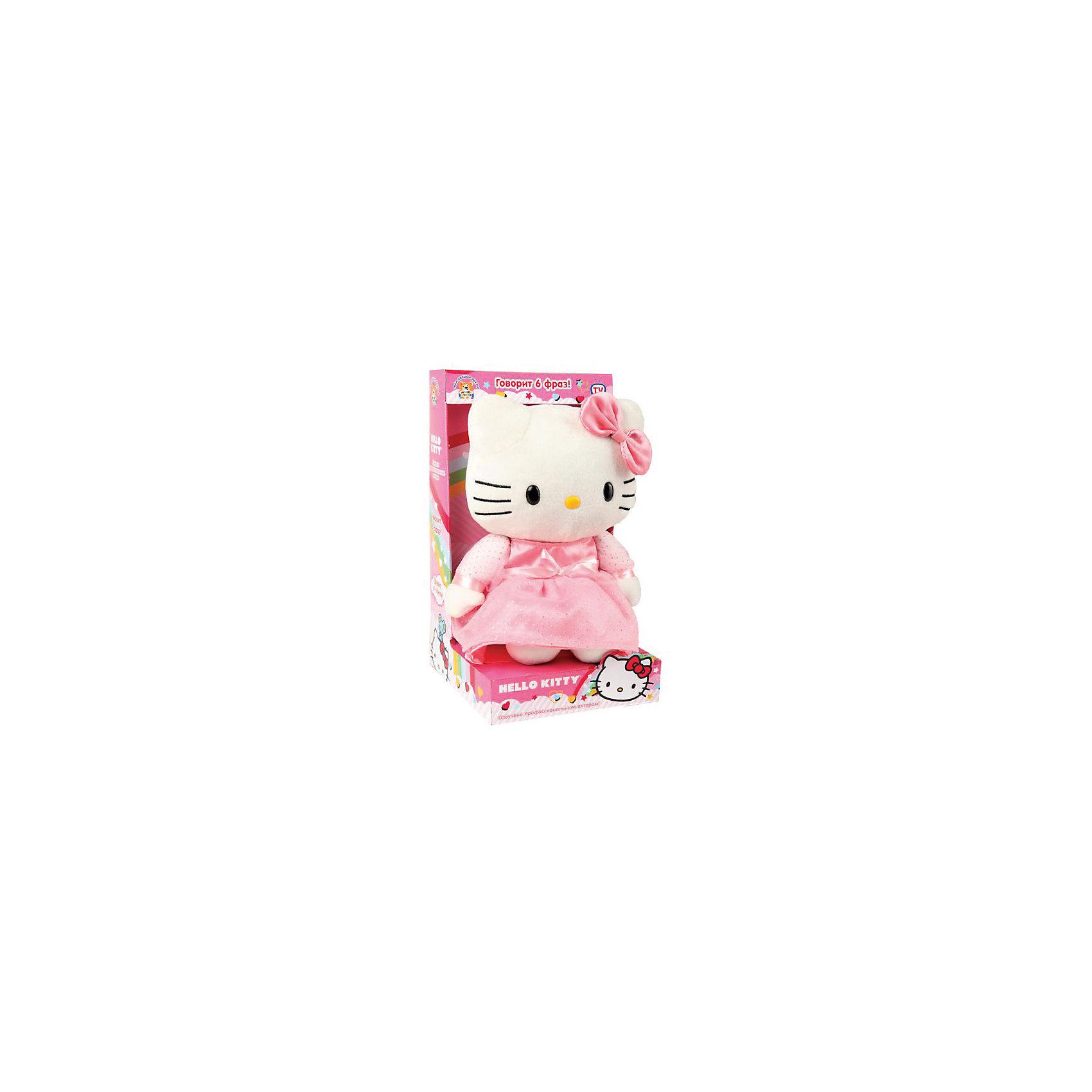 Мягкая игрушка  Hello Kitty, 22 см, со звуком, МУЛЬТИ-ПУЛЬТИМягкая игрушка Hello Kitty со звуком от марки МУЛЬТИ-ПУЛЬТИ<br><br>Интерактивная мягкая игрушка от отечественного производителя поможет ребенку проводить время весело и с пользой. Она сделана в виде известного героя - милой кошечки. В игрушке есть встроенный звуковой модуль, работающий на батарейках. Она говорит 6 разных фраз.<br>Размер игрушки - 22 сантиметра, её удобно брать с собой в поездки и на прогулку. Одет Снупи в яркую шапку. Сделан он из качественных и безопасных для ребенка материалов. <br><br>Отличительные особенности игрушки:<br><br>- материал: текстиль, пластик;<br>- звуковой модуль;<br>- язык: русский;<br>- работает на батарейках;<br>- высота: 22 см.<br><br>Мягкую игрушку Hello Kitty со звуком от марки МУЛЬТИ-ПУЛЬТИ можно купить в нашем магазине.<br><br>Ширина мм: 290<br>Глубина мм: 610<br>Высота мм: 500<br>Вес г: 580<br>Возраст от месяцев: 36<br>Возраст до месяцев: 84<br>Пол: Женский<br>Возраст: Детский<br>SKU: 4659492