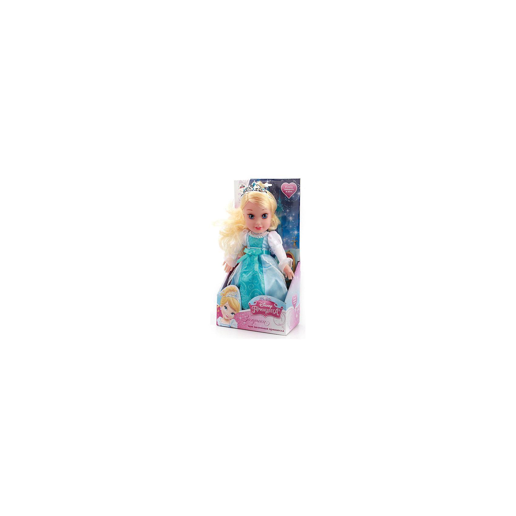 Кукла Золушка, 30 см, со звуком, Disney Princess, МУЛЬТИ-ПУЛЬТИКукла Золушка со звуком от марки МУЛЬТИ-ПУЛЬТИ<br><br>Озвученная кукла от отечественного производителя поможет ребенку проводить время весело и с пользой. Она сделана в виде принцессы из известной любимой детьми сказки. Нажав на нее, ребенок услышит разные фразы и песню. Золушка умеет моргать.<br>Размер куклы универсален - 30 сантиметров, её удобно брать с собой в поездки и на прогулку. Сделана игрушка из качественных и безопасных для ребенка материалов: тело - мягкое, голова - пластмассовая. <br><br>Отличительные особенности игрушки:<br><br>- материал: текстиль, наполнитель, пластик, металл;<br>- звуковой модуль;<br>- язык: русский;<br>- моргает;<br>- работает на батарейках;<br>- упаковка: коробка;<br>- высота: 30 см.<br><br>Куклу Золушка со звуком от марки МУЛЬТИ-ПУЛЬТИ можно купить в нашем магазине.<br><br>Ширина мм: 650<br>Глубина мм: 380<br>Высота мм: 750<br>Вес г: 430<br>Возраст от месяцев: 36<br>Возраст до месяцев: 84<br>Пол: Женский<br>Возраст: Детский<br>SKU: 4659498