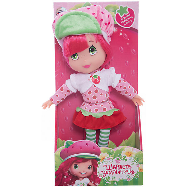 Кукла Шарлотта Земляничка, 30 см, со звуком, МУЛЬТИ-ПУЛЬТИМягкие игрушки из мультфильмов<br>Кукла Strawberry Shortcake со звуком от марки МУЛЬТИ-ПУЛЬТИ<br><br>Интерактивная кукла от отечественного производителя поможет ребенку проводить время весело и с пользой. Она сделана в виде героя из известного любимого детьми мультфильма. В кукле - звуковой модуль. <br>Размер куклы универсален - 30 сантиметров, её удобно брать с собой в поездки и на прогулку. Она очень яркая, красиво одета. Сделана игрушка из качественных и безопасных для ребенка материалов: тело - мягкое, голова - пластмассовая. <br><br>Отличительные особенности игрушки:<br><br>- материал: текстиль, наполнитель, пластик, металл;<br>- звуковой модуль;<br>- работает на батарейках;<br>- упаковка: коробка;<br>- высота: 30 см.<br><br>Куклу Strawberry Shortcake со звуком от марки МУЛЬТИ-ПУЛЬТИ можно купить в нашем магазине.<br>Ширина мм: 660; Глубина мм: 770; Высота мм: 410; Вес г: 500; Возраст от месяцев: 36; Возраст до месяцев: 84; Пол: Женский; Возраст: Детский; SKU: 4659500;