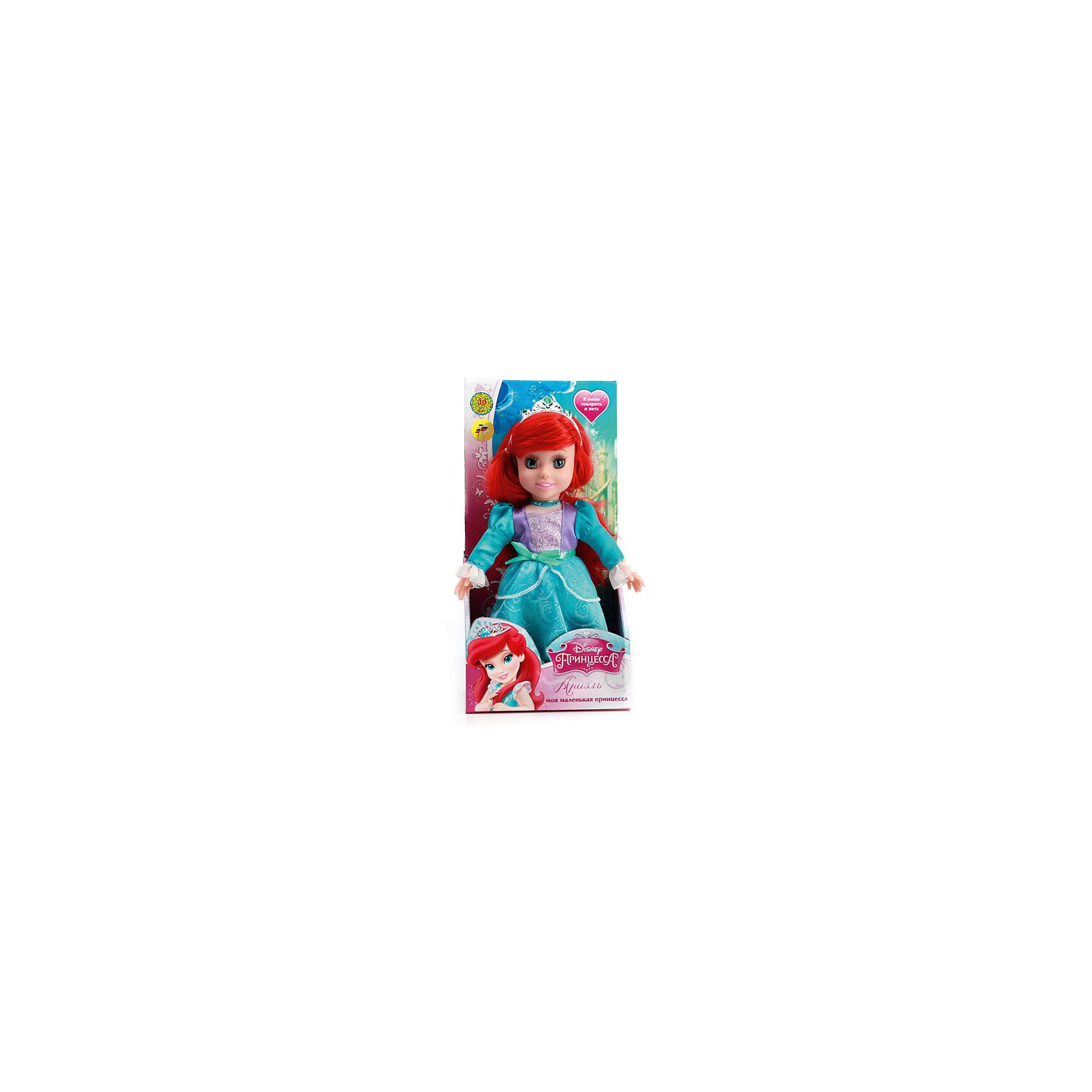 Кукла Ариэль, 30 см, со звуком, Disney Princess, МУЛЬТИ-ПУЛЬТИКукла Ариэль со звуком от марки МУЛЬТИ-ПУЛЬТИ<br><br>Интерактивная кукла от отечественного производителя поможет ребенку проводить время весело и с пользой. Она сделана в виде принцессы из известной любимой детьми сказки. Красивые волосы можно расчесывать.<br>Размер куклы универсален - 30 сантиметров, её удобно брать с собой в поездки и на прогулку. Сделана игрушка из качественных и безопасных для ребенка материалов: тело - мягкое, голова - пластмассовая. <br><br>Отличительные особенности игрушки:<br><br>- материал: текстиль, наполнитель, пластик, металл;<br>- звуковой модуль;<br>- волосы можно расчесывать;<br>- работает на батарейках;<br>- упаковка: коробка;<br>- высота: 30 см.<br><br>Куклу Ариэль со звуком от марки МУЛЬТИ-ПУЛЬТИ можно купить в нашем магазине.<br><br>Ширина мм: 750<br>Глубина мм: 650<br>Высота мм: 380<br>Вес г: 430<br>Возраст от месяцев: 36<br>Возраст до месяцев: 84<br>Пол: Женский<br>Возраст: Детский<br>SKU: 4659502