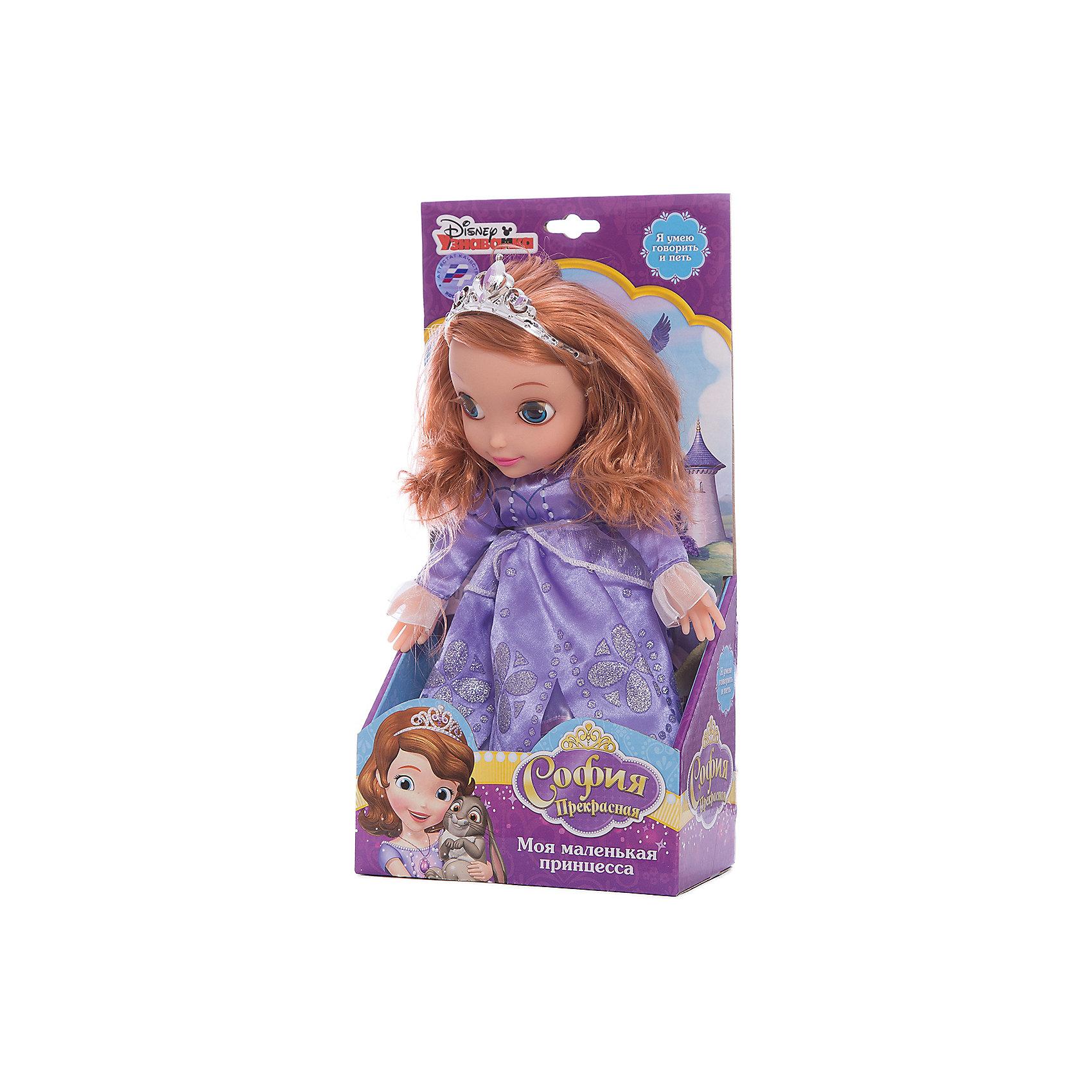 Кукла Принцесса София, 30 см, со звуком, Disney Princess, МУЛЬТИ-ПУЛЬТИМягкая игрушка Принцесса София со звуком от марки МУЛЬТИ-ПУЛЬТИ<br><br>Очаровательная игрушка от отечественного производителя сделана в виде известного персонажа из мультфильма. Она поможет ребенку проводить время весело и с пользой. В игрушке есть встроенный звуковой модуль, работающий на батарейках.<br>Размер игрушки универсален - 30 сантиметров, её удобно брать с собой в поездки и на прогулку. Сделана она из качественных и безопасных для ребенка материалов, которые еще и приятны на ощупь. <br><br>Отличительные особенности  игрушки:<br><br>- материал: текстиль, пластик;<br>- звуковой модуль;<br>- волосы расчесываются;<br>- работает на батарейках;<br>- высота: 30 см.<br><br>Мягкую игрушку Принцесса София от марки МУЛЬТИ-ПУЛЬТИ можно купить в нашем магазине.<br><br>Ширина мм: 650<br>Глубина мм: 380<br>Высота мм: 750<br>Вес г: 440<br>Возраст от месяцев: 36<br>Возраст до месяцев: 84<br>Пол: Женский<br>Возраст: Детский<br>SKU: 4659505