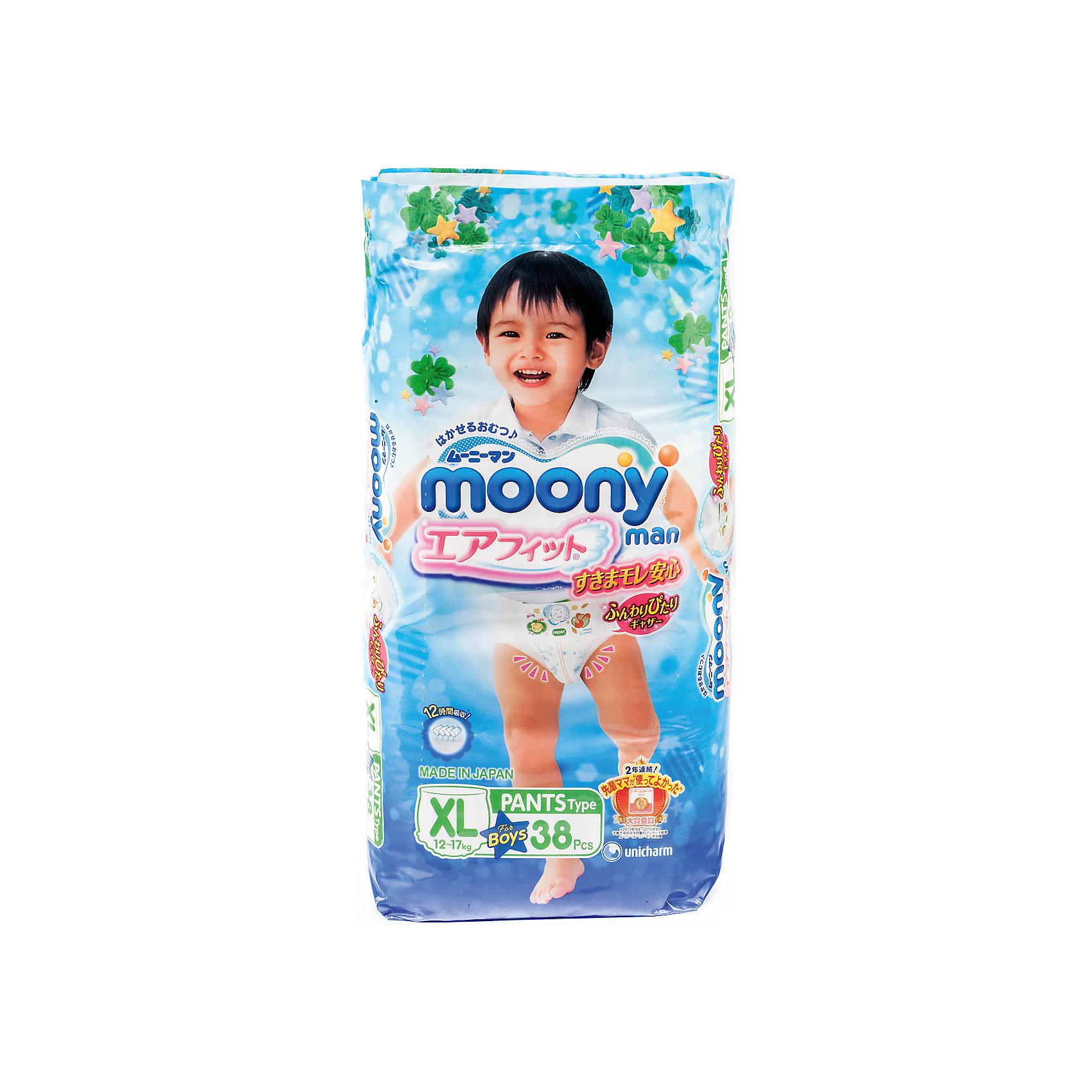 Moony Трусики-подгузники для мальчиков Moony Man, XL 12-17 кг., 38 шт moony трусики ночные для мальчиков 13 25 кг в барнауле