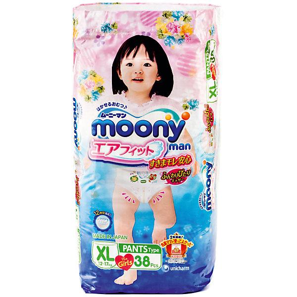 Трусики-подгузники для девочек Moony Man, XL 12-17 кг., 38 штТрусики-подгузники<br>Универсальные и оригинальные трусики Муни подойдут как для девочек, так и мальчиков, которые уже начали ползать на четвереньках. Не зависимо от активности ребенка он не почувствует дискомфорт, так как впитывающий слой несколько тоньше и эластичней, чем в обычных подгузниках. Сверхтонкий впитывающий слой препятствует протеканию. Дышащая поверхность трусиков позволяет коже малыша дышать, предотвращает возникновение парникового эффекта и оставляет кожу сухой. И самое главное - снять или одеть трусики Moony Man можно без особых проблем, не смотря на то, в каком положении будет ребенок.<br><br>Дополнительная информация:<br><br>Размер: XL 12-17 кг.<br>Количество в упаковке: 38 шт.<br><br>Трусики-подгузники для девочек Moony Man, XL 12-17 кг., 38 шт можно купить в нашем магазине.<br><br>Ширина мм: 320<br>Глубина мм: 430<br>Высота мм: 455<br>Вес г: 1700<br>Возраст от месяцев: 12<br>Возраст до месяцев: 36<br>Пол: Женский<br>Возраст: Детский<br>SKU: 4659616