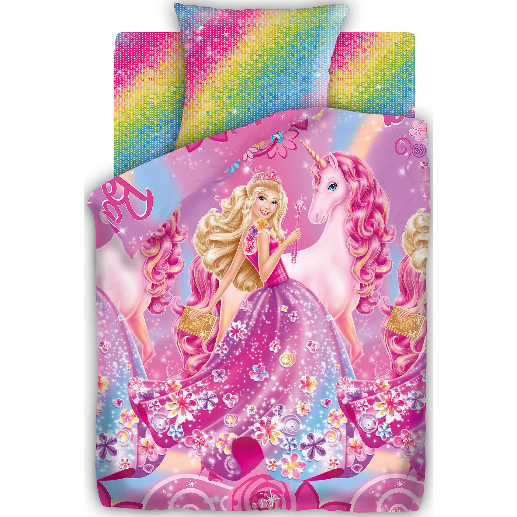 Комплект Барби, Принцесса АлексаКомплект Принцесса Алекса от бренда Барби<br><br>Этот комплект постельного белья создан специально для современных девочек. На нем изображена принцесса и единорог. Смотрится очень эффектно! Яркие цвета обеспечат девочкам настрой на яркие волшебные сны.<br>Комплект сшит из натурального хлопка. Этот материал не вызывает аллергии и раздражения, позволяет коже дышать, обеспечивает комфорт во время сна, легко стирается. Размеры всех предметов - стандартные для полутораспального комплекта, отлично подойдут для детской кровати и спальных принадлежностей.<br><br>Особенности комплекта:<br><br>пододеяльник: 143*215 см (1 шт.);<br>простыня: 150*214 см (1 шт.);<br>наволочка: 70*70 см (1шт.)<br>ткань: бязь (100% хлопок).<br><br>Комплект Принцесса Алекса от бренда Барби можно купить в нашем магазине<br><br>Ширина мм: 250<br>Глубина мм: 350<br>Высота мм: 70<br>Вес г: 1150<br>Возраст от месяцев: 36<br>Возраст до месяцев: 144<br>Пол: Унисекс<br>Возраст: Детский<br>SKU: 4660086