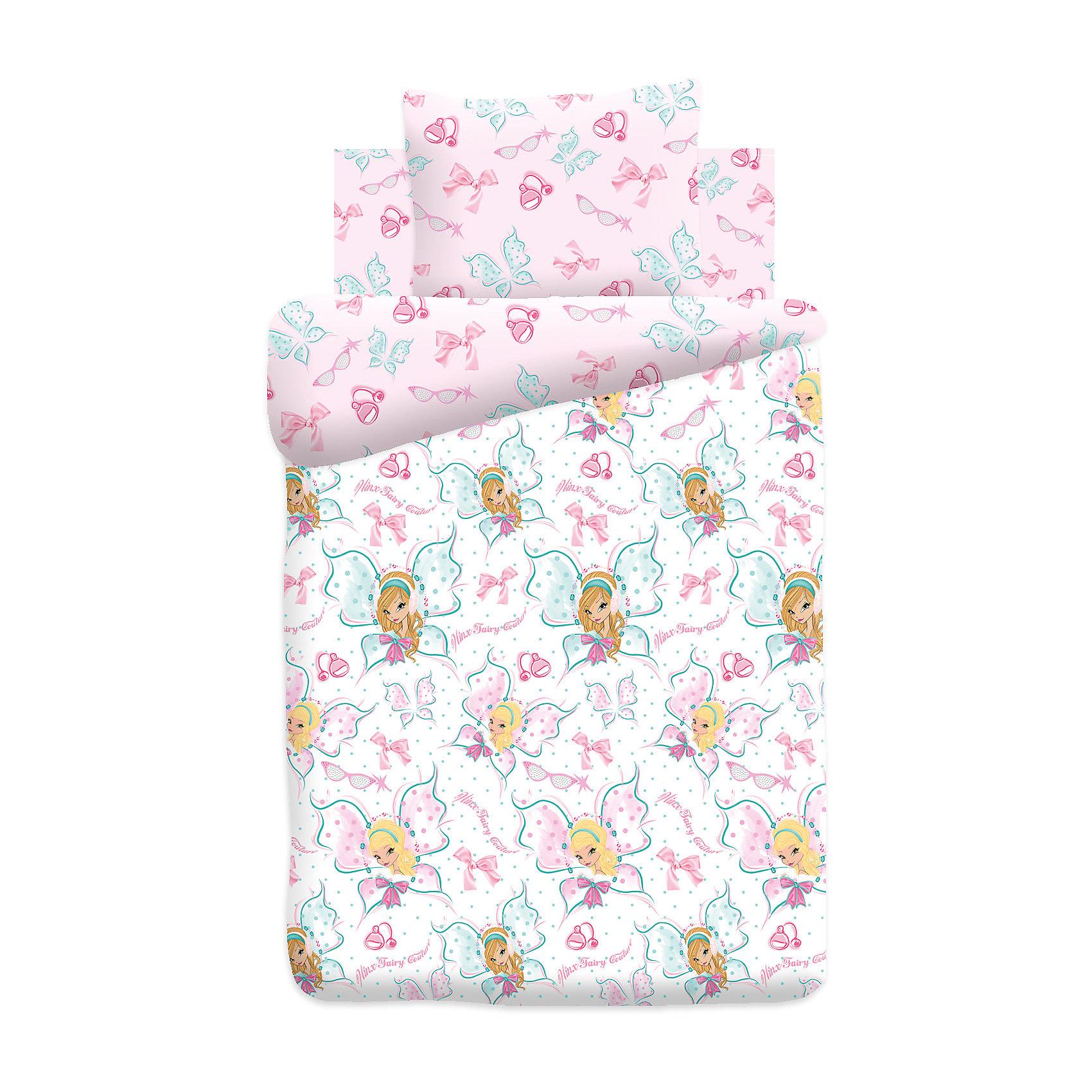 Комплект Winx Fairy Couture, Butterfly, поплинКомплект Butterfly, поплин от бренда Winx Fairy Couture <br><br>Этот комплект постельного белья создан специально для современных девочек. На нем изображены любимые девчонками феи Winx. Смотрится очень эффектно! Яркие цвета обеспечат девочкам настрой на яркие волшебные сны.<br>Комплект сшит из натурального хлопка. Этот материал не вызывает аллергии и раздражения, позволяет коже дышать, обеспечивает комфорт во время сна, легко стирается. Размеры всех предметов - стандартные для полутораспального комплекта, отлично подойдут для детской кровати и спальных принадлежностей.<br><br>Особенности комплекта:<br><br>пододеяльник: 143*215 см (1 шт.);<br>простыня: 150*214 см (1 шт.);<br>наволочка: 70*70 см (1шт.)<br>ткань: поплин (100% хлопок).<br><br>Комплект Butterfly, поплин от бренда Winx Fairy Couture можно купить в нашем магазине<br><br>Ширина мм: 250<br>Глубина мм: 350<br>Высота мм: 70<br>Вес г: 1150<br>Возраст от месяцев: 36<br>Возраст до месяцев: 144<br>Пол: Унисекс<br>Возраст: Детский<br>SKU: 4660087