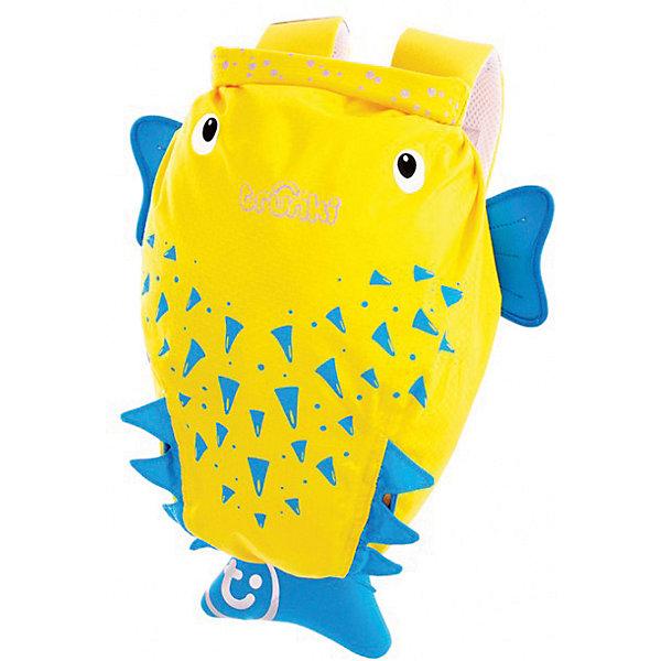 Рюкзак для бассейна и пляжа РЫБА ПУЗЫРЬ, желтыйКупальники и плавки<br>Рюкзак Рыба пузырь- стильный нарядный рюкзачок, который замечательно подойдет для занятий спортом, походов в бассейн или на пляж. Необычный рюкзак выполнен из прочного водоотталкивающего материала в виде забавной рыбы-пузыря желтого цвета с голубыми плавниками. Рюкзак закрывается с помощью герметичной крышки-скрутки, которая сохранит содержимое и защитит от проникновения воды. Внутри одно большое отделение. На внешней стороне рюкзака имеются специальное крепление, куда можно подвесить детские солнцезащитные очки, а также карман в виде хвоста рыбки для различных мелочей. Рюкзак оснащен широкими эргономичными лямками, которые регулируются до нужного размера, и петлей для подвешивания. Светоотражающие элементы обеспечивают безопасность на дороге и в темное время суток. Яркий стильный аксессуар непременно понравится Вашему ребенку и превратит любую поездку в веселое приключение.<br><br>Дополнительная информация:<br><br>- Материал: текстиль. <br>- Объем: 7,5 л. <br>- Размер рюкзака: 29 х 37 х 20 см.<br>- Вес: 170 гр.<br><br>Рюкзак для бассейна и пляжа Рыба пузырь, желтый, Trunki, можно купить в нашем интернет-магазине.<br><br>Ширина мм: 370<br>Глубина мм: 290<br>Высота мм: 170<br>Вес г: 170<br>Возраст от месяцев: 36<br>Возраст до месяцев: 72<br>Пол: Унисекс<br>Возраст: Детский<br>SKU: 4660574