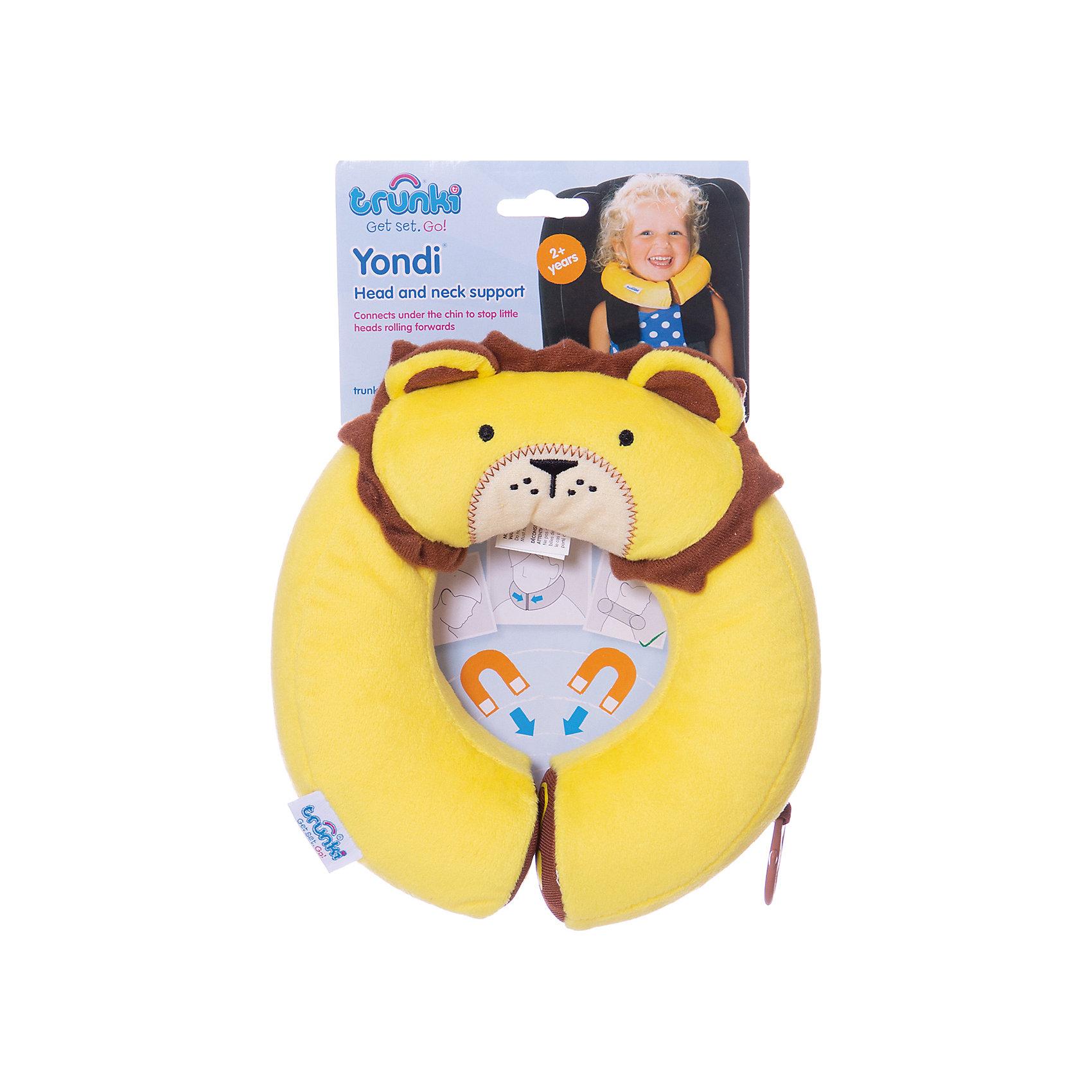 Подголовник Yondi Lion, жёлтыйАксессуары<br>Яркий подголовник Yondi Lion поможет сделать путешествие ребенка еще более приятным и комфортным. Подголовник выполнен из мягкого приятного на ощупь материала в виде забавной мордочки львенка с гривой. Специальный наполнитель поддерживает анатомическую форму и облегчает нагрузку на шею и плечевые мышцы малыша. Под подбородком подголовник соединяется скрытыми магнитами, которые позволяют зафиксировать голову ребенка для более комфортного отдыха и сна. С помощью универсального держателя Trunki Grip Вы можете закрепить одеяло или плед, а также повесить солнцезащитные детские очки. Подголовник соответствует международным стандартам безопасности: CE и ASTM. Возможно использование с детскими автокреслами.<br><br>Дополнительная информация:<br><br>- Материал: текстиль. <br>- Внутренний диаметр подголовника: 10 см. (окружность 28 см.).<br>- Внешний диаметр: 20 см.<br>- Размер упаковки: 22 х 20 х 5 см.<br>- Вес: 100 гр.<br><br>Подголовник Yondi Lion, желтый, Trunki, можно купить в нашем интернет-магазине.<br><br>Ширина мм: 220<br>Глубина мм: 200<br>Высота мм: 50<br>Вес г: 100<br>Возраст от месяцев: 36<br>Возраст до месяцев: 60<br>Пол: Унисекс<br>Возраст: Детский<br>SKU: 4660577