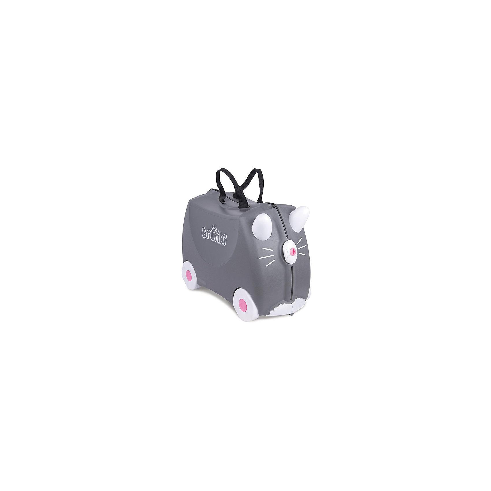 Чемодан на колесиках Котенок БенниДорожные сумки и чемоданы<br>Вместительный, удобный чемодан Котенок Бенни - замечательный вариант для маленьких путешественников. Оригинальный чемодан выполнен из прочного пластика в виде забавного серого котенка с белыми ушками и розовым носиком-замком. Размеры позволяют брать его в самолет как ручную кладь. Чемоданчик может использоваться как детский стульчик и как оригинальное средство передвижения. Благодаря надежным колесикам, удобной конструкции седла и стабилизаторам малыш ездит на чемодане как на каталке, отталкиваясь ножками и держась за ушки котенка. <br><br>Чемодан оснащен удобными ручками для переноски и надежным замком с ключиком. С помощью ручного буксировочного ремня котенка можно везти по полу или нести на плече. Внутри просторное двустворчатое отделение для одежды и дорожных принадлежностей с ремнями для фиксации одежды, а также потайные секретные отсеки для мелочей. Все детали выполнены из экологически чистых, безопасных для детского здоровья материалов. Собственный чемодан для путешествий позволит ребенку почувствовать себя взрослым и самостоятельным.<br><br>Дополнительная информация:<br><br>- Материал: высококачественный пластик.<br>- Объем: 18 л.<br>- Максимальная нагрузка: 45 кг.<br>- Кол-во колес: 4 колеса.<br>- Размер чемодана: 46 х 20,5 х 31 см.<br>- Вес: 1,7 кг.<br><br>Чемодан на колесиках Котенок Бенни, Trunki, можно купить в нашем интернет-магазине.<br><br>Ширина мм: 460<br>Глубина мм: 210<br>Высота мм: 310<br>Вес г: 1700<br>Возраст от месяцев: 36<br>Возраст до месяцев: 72<br>Пол: Унисекс<br>Возраст: Детский<br>SKU: 4660579