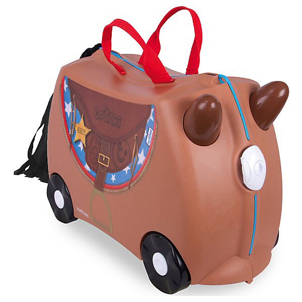 Чемодан на колесиках Лошадка БронкоДорожные сумки и чемоданы<br>Вместительный, удобный чемодан Лошадка Бронко - замечательный вариант для маленьких путешественников. Оригинальный чемодан выполнен из прочного пластика в виде забавной коричневой лошадки с ушками. Размеры позволяют брать его в самолет как ручную кладь. Чемоданчик может использоваться как детский стульчик и как оригинальное средство передвижения. Благодаря надежным колесикам, удобной конструкции седла и стабилизаторам малыш ездит на чемодане как на каталке, отталкиваясь ножками и держась за ушки лошадки.<br><br>Чемодан оснащен удобными ручками для переноски и надежным замком с ключиком. С помощью ручного буксировочного ремня лошадку можно везти по полу или нести на плече. Внутри просторное двустворчатое отделение для одежды и дорожных принадлежностей с ремнями для фиксации одежды, а также потайные секретные отсеки для мелочей. Все детали выполнены из экологически чистых, безопасных для детского здоровья материалов. Собственный чемодан для путешествий позволит ребенку почувствовать себя взрослым и самостоятельным.<br><br>Дополнительная информация:<br><br>- Материал: высококачественный пластик.<br>- Объем: 18 л.<br>- Максимальная нагрузка: 45 кг.<br>- Кол-во колес: 4 колеса.<br>- Размер чемодана: 46 х 20,5 х 31 см.<br>- Вес: 1,7 кг.<br><br>Чемодан на колесиках Лошадка Бронко, Trunki, можно купить в нашем интернет-магазине.<br>Ширина мм: 460; Глубина мм: 210; Высота мм: 310; Вес г: 1700; Возраст от месяцев: 36; Возраст до месяцев: 72; Пол: Унисекс; Возраст: Детский; SKU: 4660580;