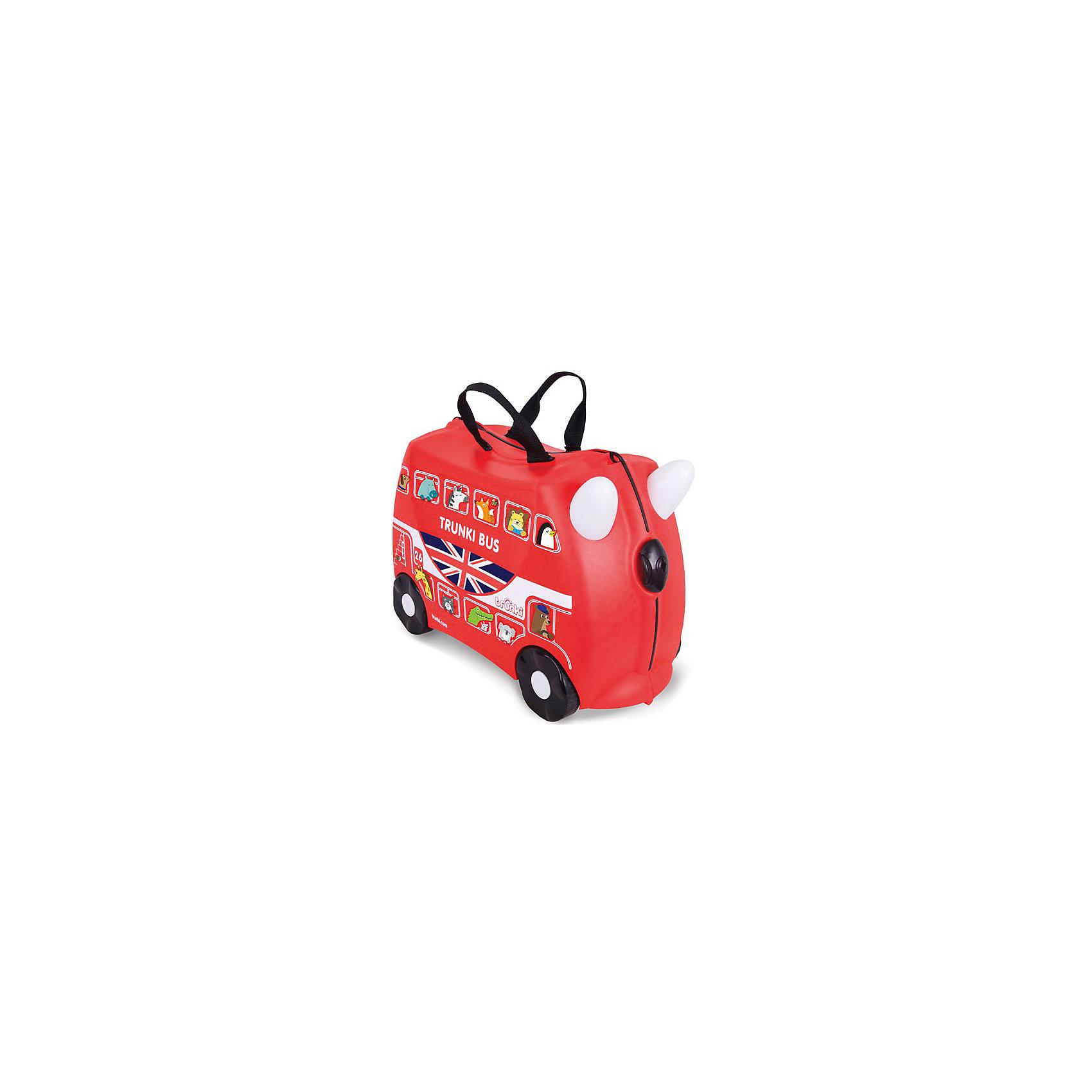 Чемодан на колесиках АвтобусДорожные сумки и чемоданы<br>Вместительный, удобный чемодан Автобус - замечательный вариант для маленьких путешественников. Оригинальный чемодан выполнен из прочного пластика в виде традиционного английского автобуса ярко-красного цвета с двумя этажами. Размеры позволяют брать его в самолет как ручную кладь. Чемоданчик может использоваться как детский стульчик и как оригинальное средство передвижения. Благодаря надежным колесикам, удобной конструкции седла и стабилизаторам малыш ездит на чемодане как на каталке, отталкиваясь ножками и держась за рожки. <br><br>Чемодан оснащен удобными ручками для переноски и надежным замком с ключиком. С помощью ручного буксировочного ремня автобус можно везти по полу или нести на плече. Внутри просторное двустворчатое отделение для одежды и дорожных принадлежностей с ремнями для фиксации одежды, а также потайные секретные отсеки для мелочей. Все детали выполнены из экологически чистых, безопасных для детского здоровья материалов. Собственный чемодан для путешествий позволит ребенку почувствовать себя взрослым и самостоятельным.<br><br>Дополнительная информация:<br><br>- Материал: высококачественный пластик.<br>- Объем: 18 л.<br>- Максимальная нагрузка: 45 кг.<br>- Кол-во колес: 4 колеса.<br>- Размер чемодана: 46 х 20,5 х 31 см.<br>- Вес: 1,7 кг.<br><br>Чемодан на колесиках Автобус, Trunki, можно купить в нашем интернет-магазине.<br><br>Ширина мм: 460<br>Глубина мм: 210<br>Высота мм: 310<br>Вес г: 1700<br>Возраст от месяцев: 36<br>Возраст до месяцев: 72<br>Пол: Унисекс<br>Возраст: Детский<br>SKU: 4660581