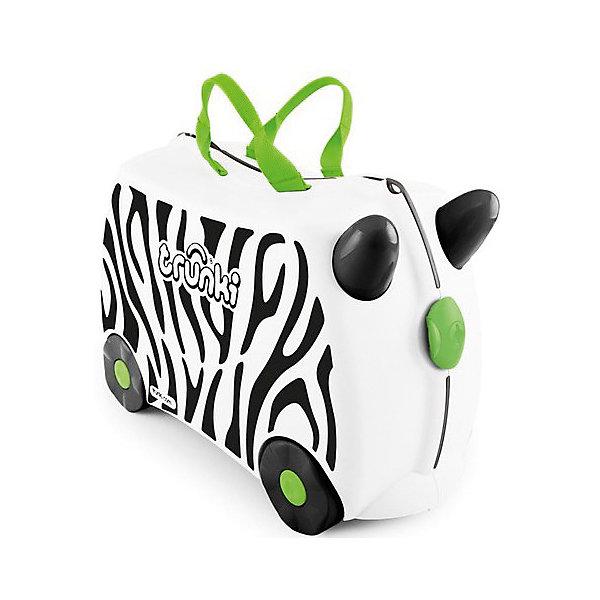 Чемодан на колесиках Зебра ЗимбаДорожные сумки и чемоданы<br>Вместительный, удобный чемодан Зебра Зимба - замечательный вариант для маленьких путешественников. Оригинальный чемодан выполнен из прочного пластика в виде забавной полосатой зебры с рожками. Размеры позволяют брать его в самолет как ручную кладь. Чемоданчик может использоваться как детский стульчик и как оригинальное средство передвижения. Благодаря надежным колесикам, удобной конструкции седла и стабилизаторам малыш ездит на чемодане как на каталке, отталкиваясь ножками и держась за рожки зебры. <br><br>Чемодан оснащен удобными ручками для переноски и надежным замком с ключиком. С помощью ручного буксировочного ремня зебру можно везти по полу или нести на плече. Внутри просторное двустворчатое отделение для одежды и дорожных принадлежностей с ремнями для фиксации одежды, а также потайные секретные отсеки для мелочей. Все детали выполнены из экологически чистых, безопасных для детского здоровья материалов. Собственный чемодан для путешествий позволит ребенку почувствовать себя взрослым и самостоятельным.<br><br>Дополнительная информация:<br><br>- Материал: высококачественный пластик.<br>- Объем: 18 л.<br>- Максимальная нагрузка: 45 кг.<br>- Кол-во колес: 4 колеса.<br>- Размер чемодана: 46 х 20,5 х 31 см.<br>- Вес: 1,7 кг.<br><br>Чемодан на колесиках Зебра Зимба, Trunki, можно купить в нашем интернет-магазине.<br>Ширина мм: 460; Глубина мм: 210; Высота мм: 310; Вес г: 1700; Возраст от месяцев: 36; Возраст до месяцев: 72; Пол: Унисекс; Возраст: Детский; SKU: 4660582;