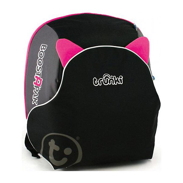 Автокресло-рюкзак черно-розовоеГруппа 2-3  (от 15 до 36 кг)<br>Функциональное автокресло Trunki сделает поездку Вашего ребенка в автомобиле еще более приятной и безопасной. Оригинальная конструкция совмещает в себе рюкзак и комфортный бустер. Легкий и удобный рюкзак изготовлен из жесткого пластика и вмещает в себя все необходимые в дороге вещи и игрушки ребенка. Внутри вместительное отделение на молнии. Рюкзак оснащен эргономичными регулируемыми лямками, имеются светоотражающие полосы. При необходимости его легко можно трансформировать в удобное кресло-бустер и обратно. При этом отсек рюкзака, в который помещаются тетради и учебники, превращается в сиденье, а специальный карман-клапан - в спинку. Складные пластиковые подлокотники обеспечивают дополнительный комфорт. Кресло устанавливается в салоне штатными 3-х точечными ремнями безопасности на заднем сиденье лицом по ходу движения автомобиля. Съемный чехол можно стирать и чистить. Автокресло-рюкзак - идеальный вариант для поездок и путешествий, детское сидение для машины всегда за плечами Вашего ребенка. Бустер рассчитан на детей до 13 лет, ростом до 135 см. и весом до 35 кг. Соответствует нормативам безопасности - норматив ECE R44.04 для группы 2 и группы 3.<br><br>Дополнительная информация:<br><br>- Цвет: черно-розовый<br>- Материал: жесткий пластик, текстиль.<br>- Размер: 36 х 40 х 16 см.<br>- Вес: 1,5 кг.<br><br>Автокресло черно-розовое, Trunki, можно купить в нашем интернет-магазине.<br>Ширина мм: 400; Глубина мм: 360; Высота мм: 180; Вес г: 1700; Возраст от месяцев: 48; Возраст до месяцев: 132; Пол: Мужской; Возраст: Детский; SKU: 4661177;