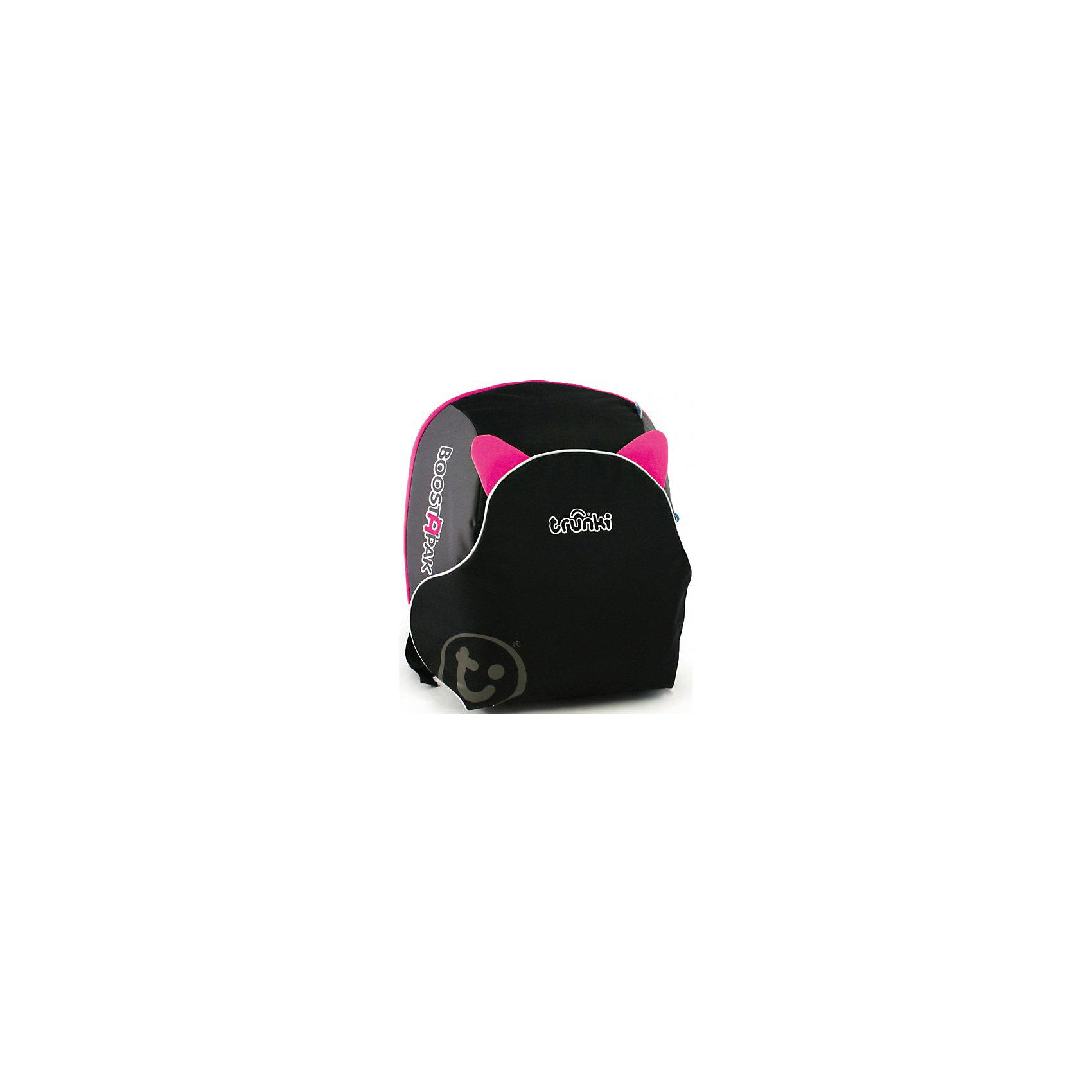 Автокресло-рюкзак черно-розовоеФункциональное автокресло Trunki сделает поездку Вашего ребенка в автомобиле еще более приятной и безопасной. Оригинальная конструкция совмещает в себе рюкзак и комфортный бустер. Легкий и удобный рюкзак изготовлен из жесткого пластика и вмещает в себя все необходимые в дороге вещи и игрушки ребенка. Внутри вместительное отделение на молнии. Рюкзак оснащен эргономичными регулируемыми лямками, имеются светоотражающие полосы. При необходимости его легко можно трансформировать в удобное кресло-бустер и обратно. При этом отсек рюкзака, в который помещаются тетради и учебники, превращается в сиденье, а специальный карман-клапан - в спинку. Складные пластиковые подлокотники обеспечивают дополнительный комфорт. Кресло устанавливается в салоне штатными 3-х точечными ремнями безопасности на заднем сиденье лицом по ходу движения автомобиля. Съемный чехол можно стирать и чистить. Автокресло-рюкзак - идеальный вариант для поездок и путешествий, детское сидение для машины всегда за плечами Вашего ребенка. Бустер рассчитан на детей до 13 лет, ростом до 135 см. и весом до 35 кг. Соответствует нормативам безопасности - норматив ECE R44.04 для группы 2 и группы 3.<br><br>Дополнительная информация:<br><br>- Цвет: черно-розовый<br>- Материал: жесткий пластик, текстиль.<br>- Размер: 36 х 40 х 16 см.<br>- Вес: 1,5 кг.<br><br>Автокресло черно-розовое, Trunki, можно купить в нашем интернет-магазине.<br><br>Ширина мм: 400<br>Глубина мм: 360<br>Высота мм: 180<br>Вес г: 1700<br>Возраст от месяцев: 48<br>Возраст до месяцев: 132<br>Пол: Мужской<br>Возраст: Детский<br>SKU: 4661177